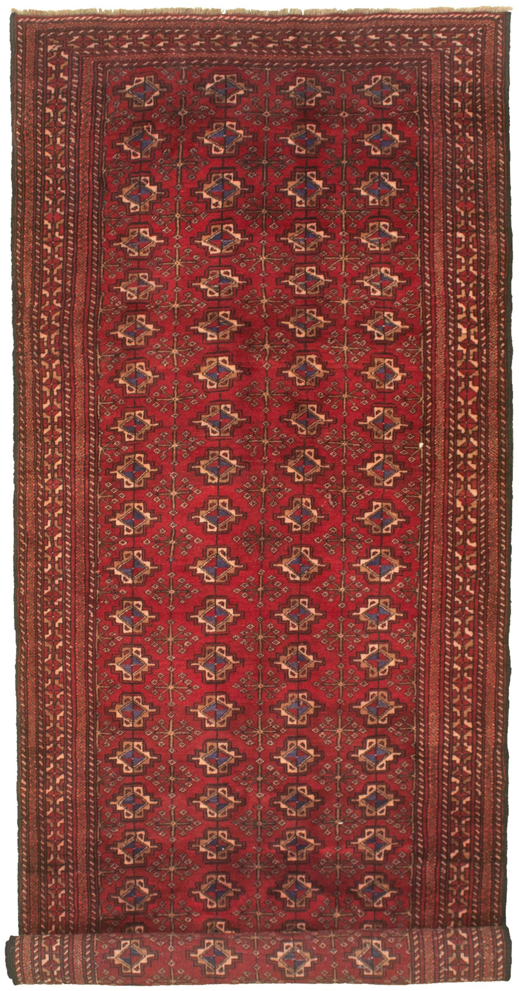 """Hand-knotted Shiravan Bokhara Red Wool Rug 4'3"""" x 10'10"""" Size: 4'3"""" x 10'10"""""""