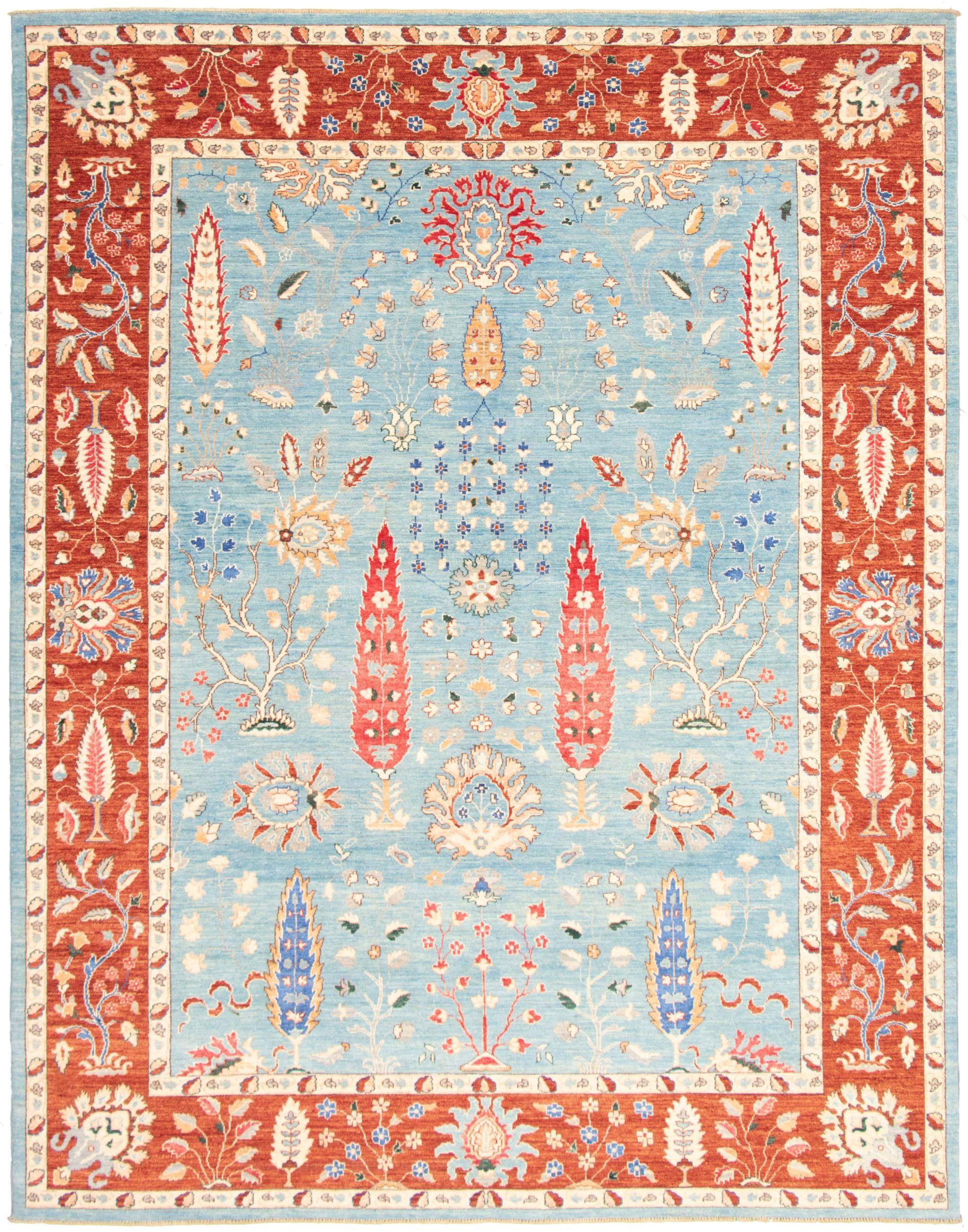 "Hand-knotted Pako Persian 18/20 Light Blue  Wool/Silk Rug 9'1"" x 11'6"" Size: 9'1"" x 11'6"""