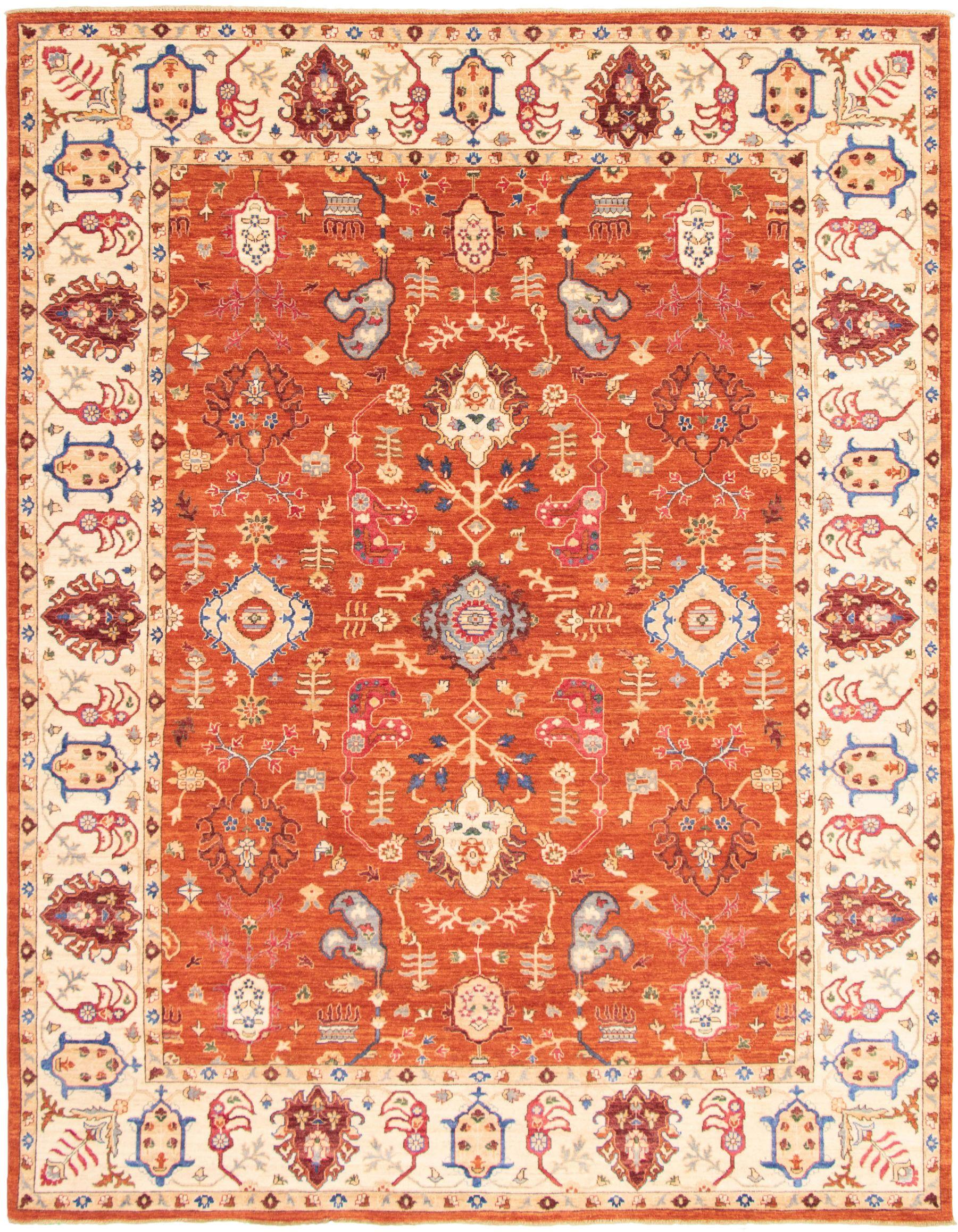 "Hand-knotted Pako Persian 18/20 Burnt Orange WooL/Silk Rug 9'1"" x 11'8"" Size: 9'1"" x 11'8"""