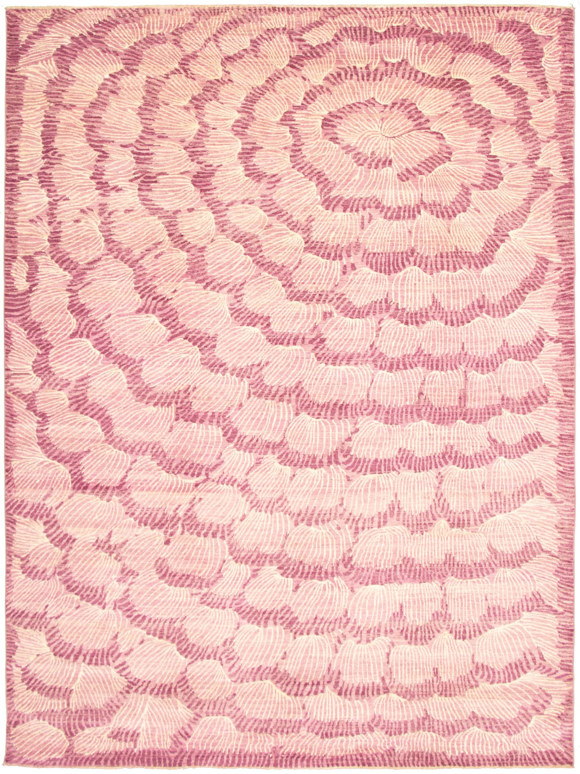 """Hand-knotted Abstract Lahore Legacy Violet  Rug 9'0"""" x 12'2"""" Size: 9'0"""" x 12'2"""""""