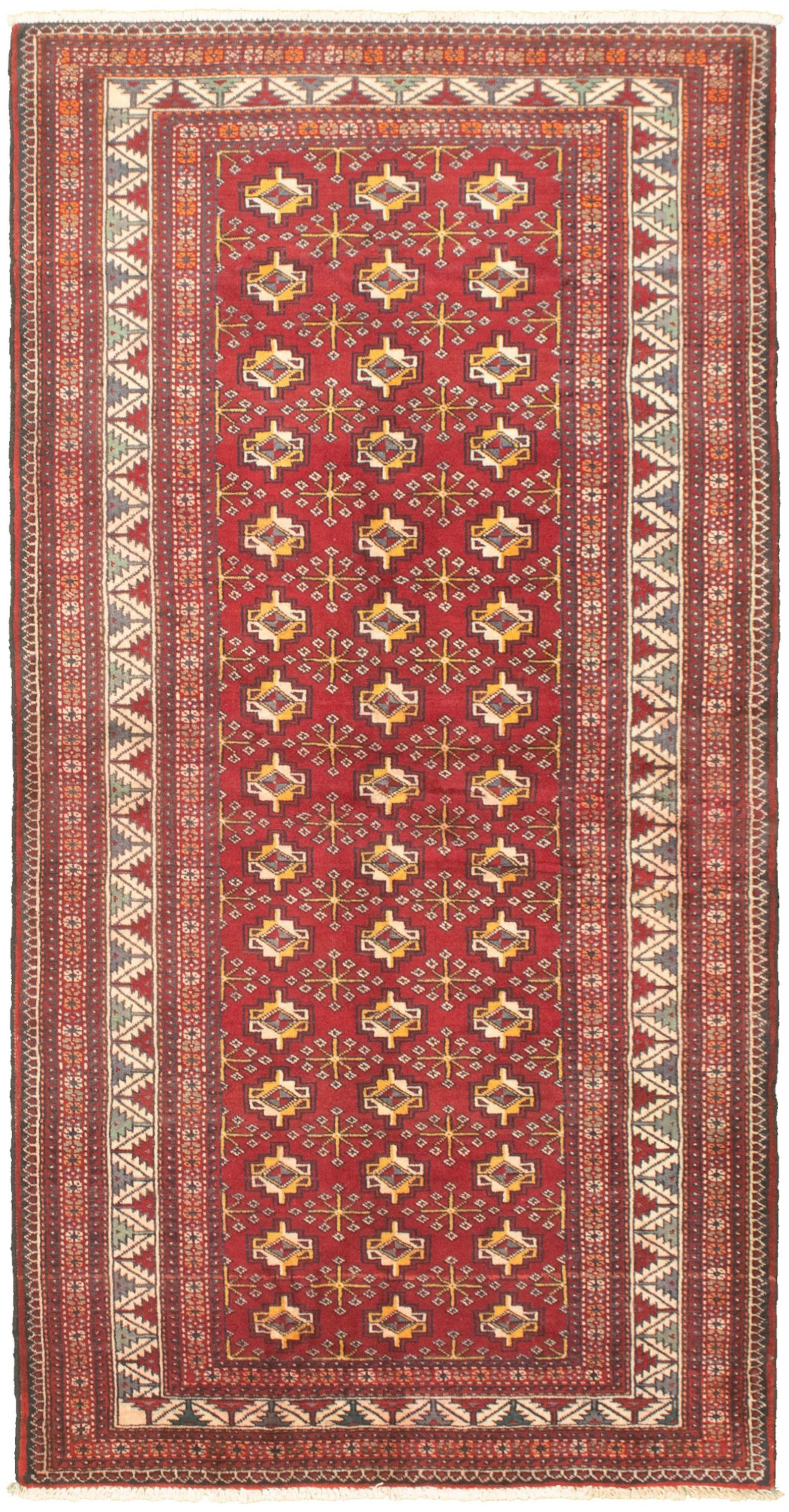 "Hand-knotted Shiravan Bokhara Red Wool Rug 3'7"" x 7'1"" Size: 3'7"" x 7'1"""