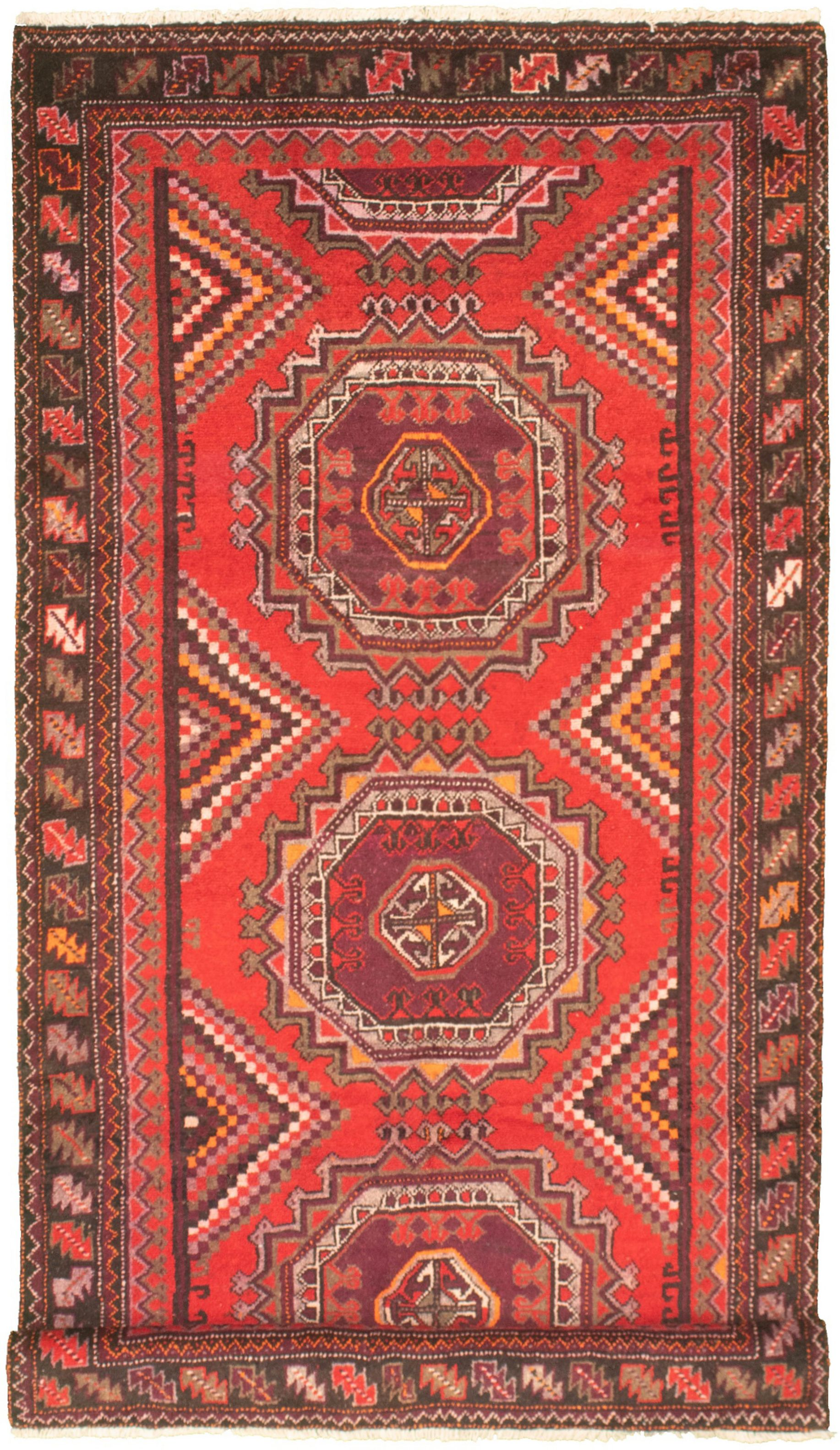 """Hand-knotted Authentic Turkish Red Wool Rug 4'11"""" x 10'0"""" Size: 4'11"""" x 10'0"""""""
