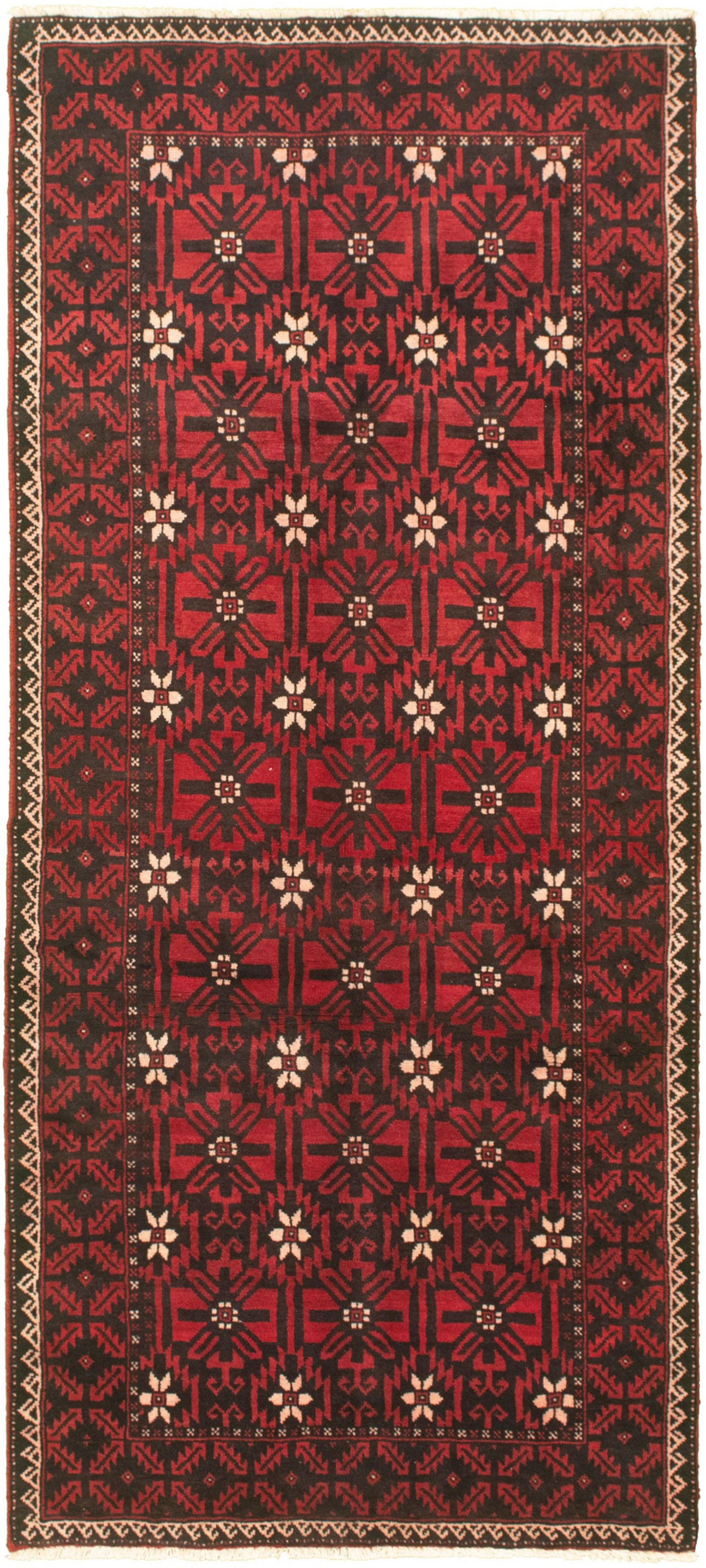 """Hand-knotted Authentic Turkish Red Wool Rug 3'7"""" x 8'2""""  Size: 3'7"""" x 8'2"""""""
