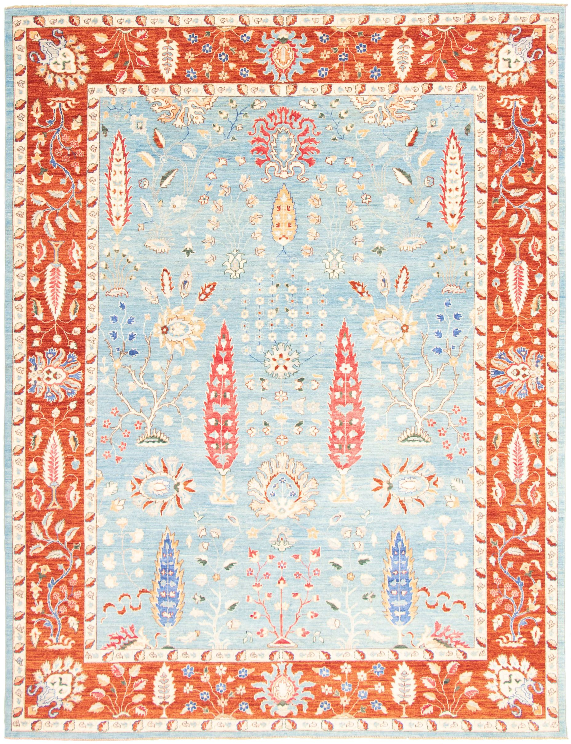 """Hand-knotted Pako Persian 18/20 Light Blue   Rug 8'11"""" x 11'7"""" Size: 8'11"""" x 11'7"""""""