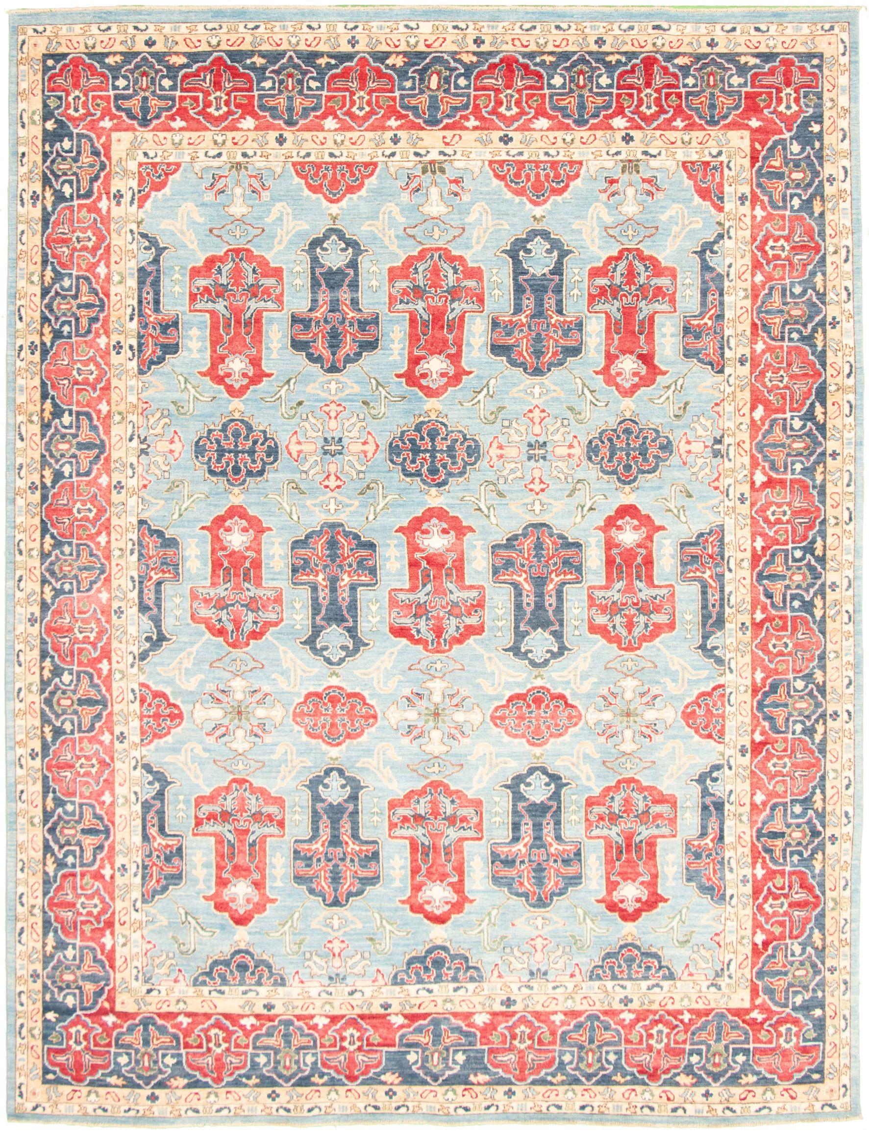 """Hand-knotted Aryana Light Blue  Wool/Silk Rug 8'11"""" x 11'11"""" Size: 8'11"""" x 11'11"""""""