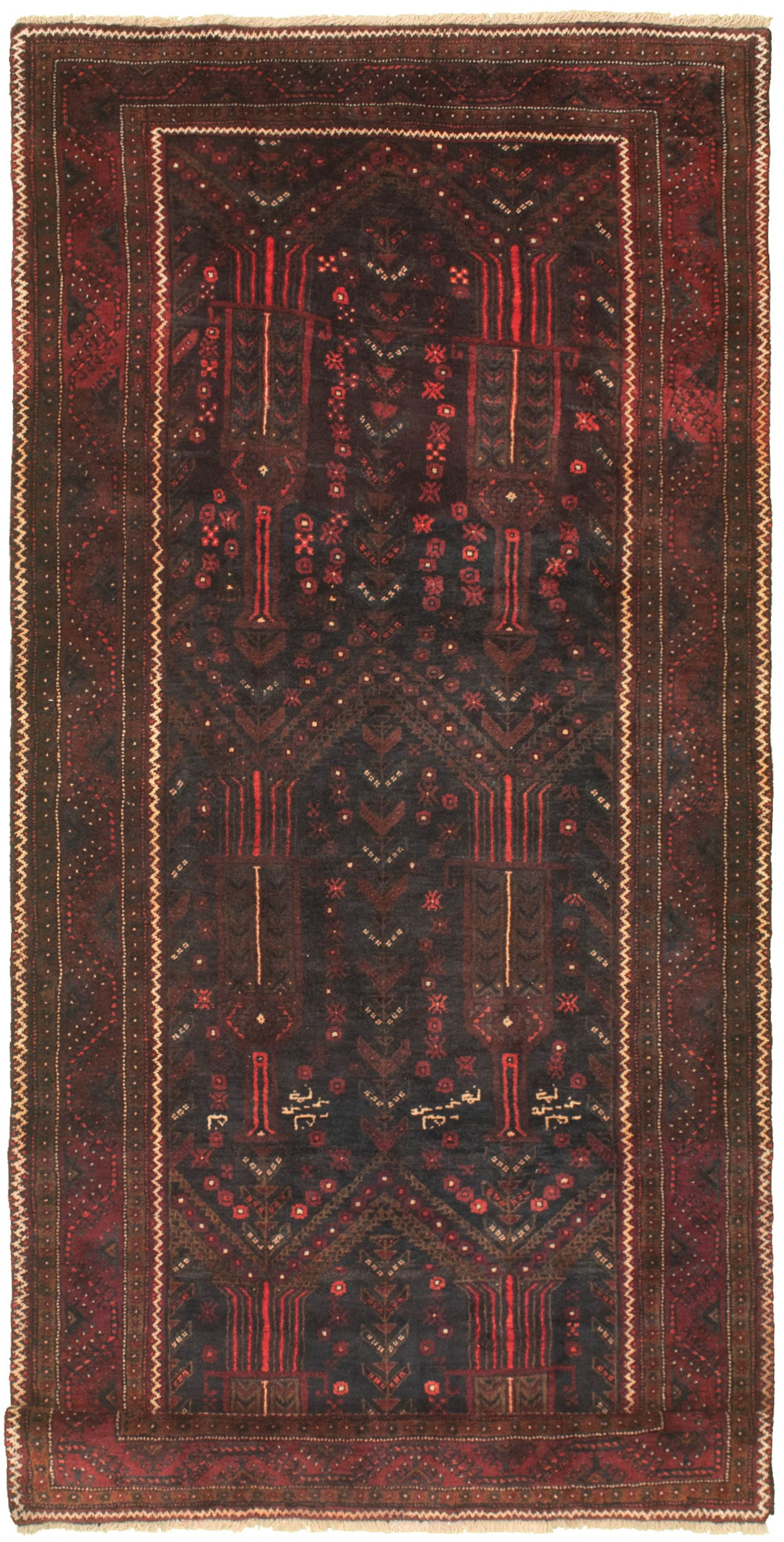 """Hand-knotted Authentic Turkish Black Wool Rug 4'3"""" x 10'5"""" Size: 4'3"""" x 10'5"""""""
