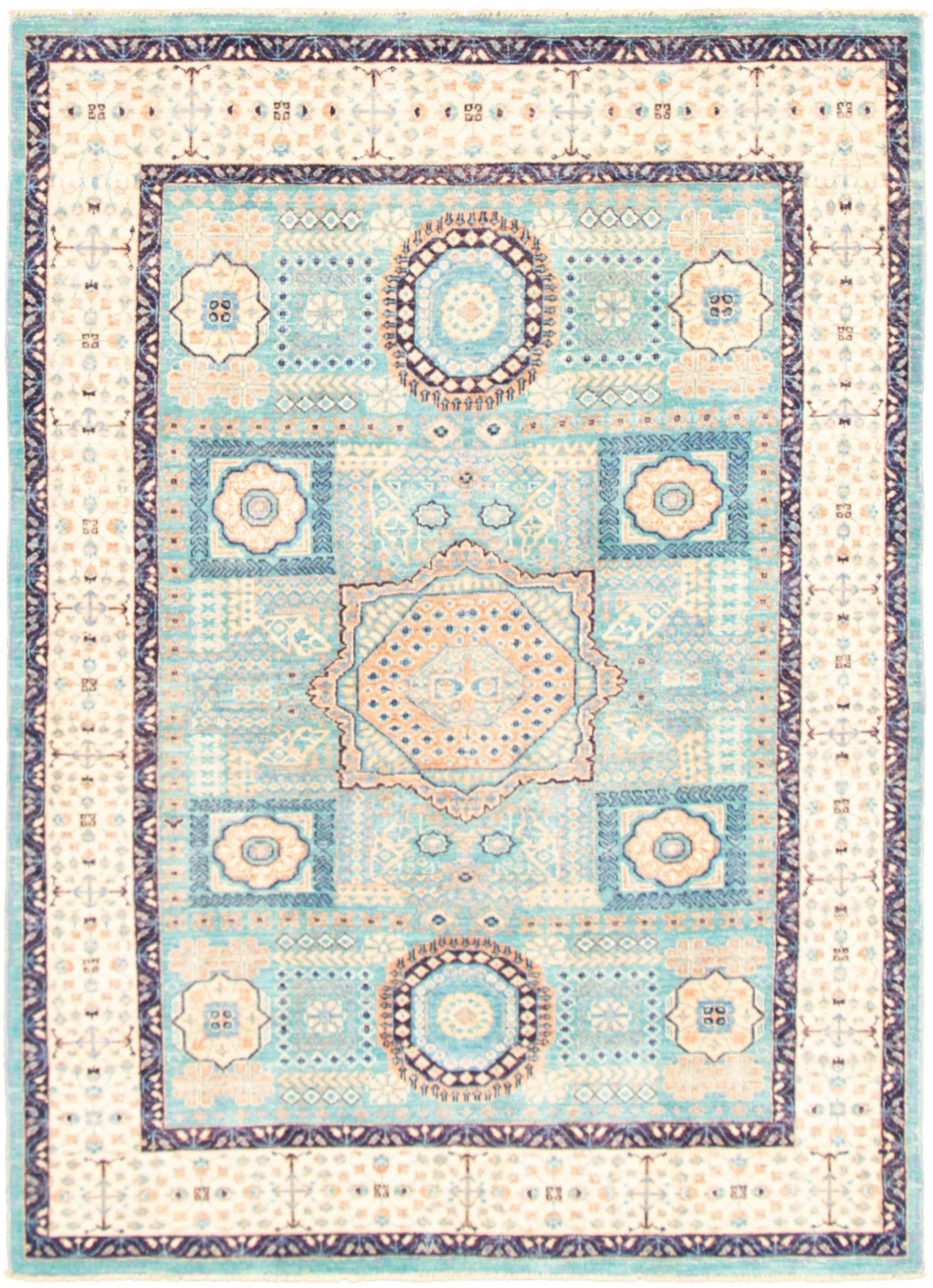 "Hand-knotted Pako Mamluk Sky Blue  Rug 5'7"" x 7'9"" Size: 5'7"" x 7'9"""