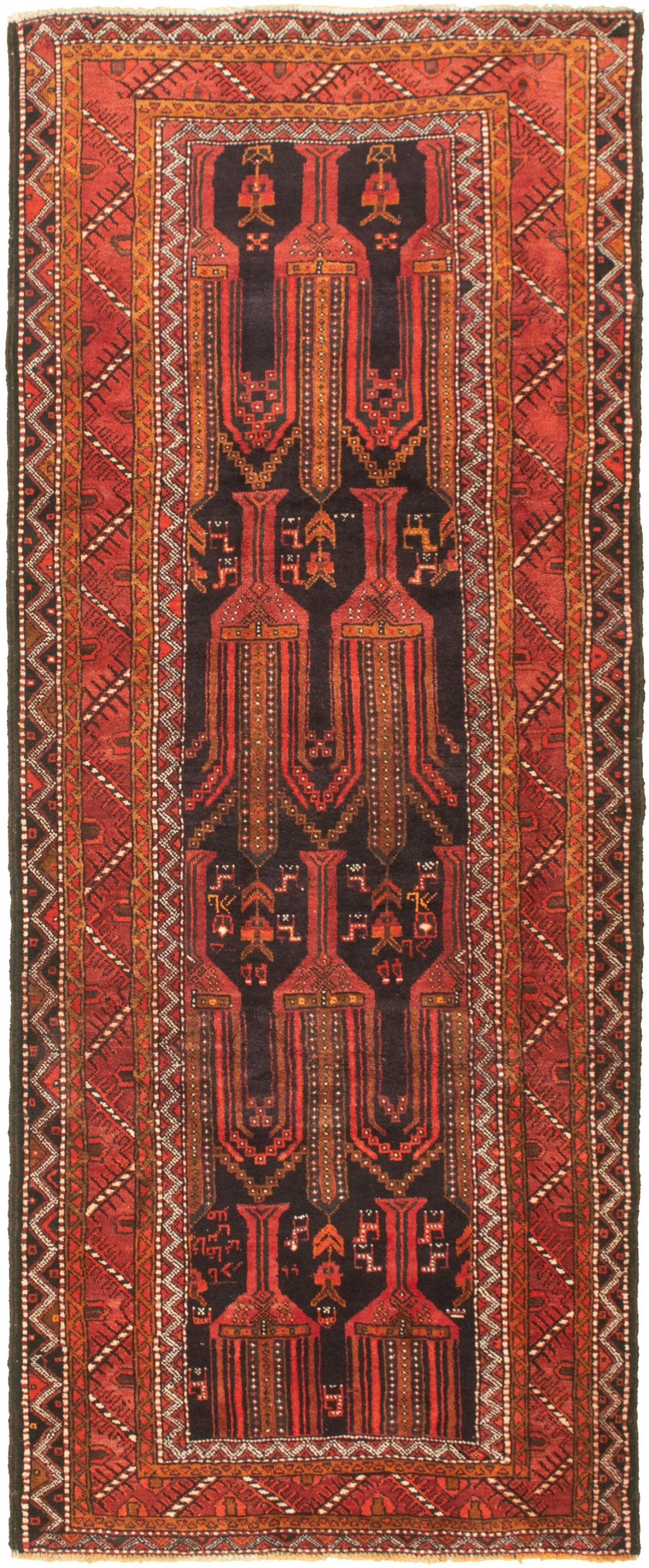 "Hand-knotted Authentic Turkish Black Wool Rug 3'7"" x 9'5"" Size: 3'7"" x 9'5"""