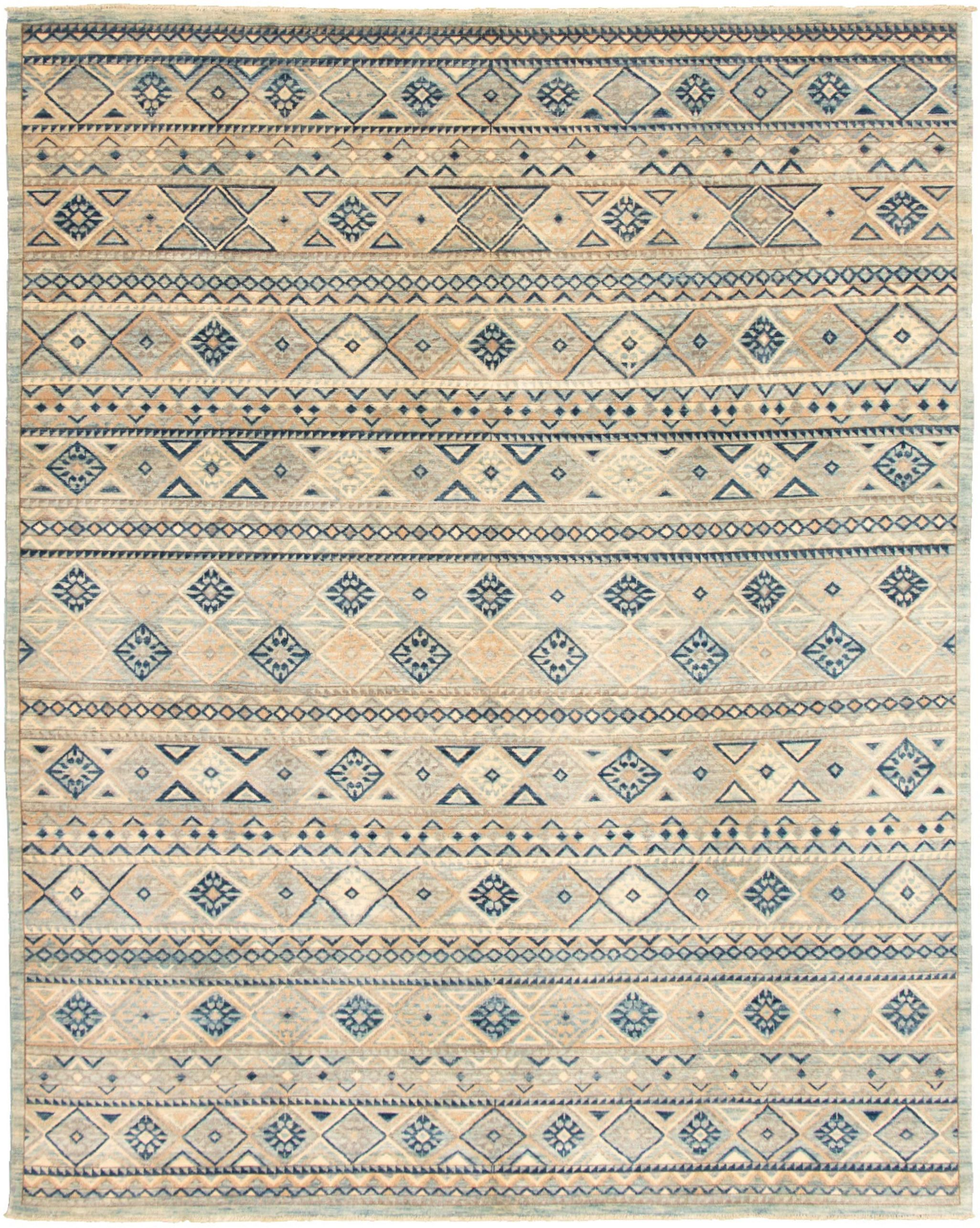 "Hand-knotted Finest Peshawar Ziegler Blue, Grey  Rug 7'11"" x 10'1"" Size: 7'11"" x 10'1"""
