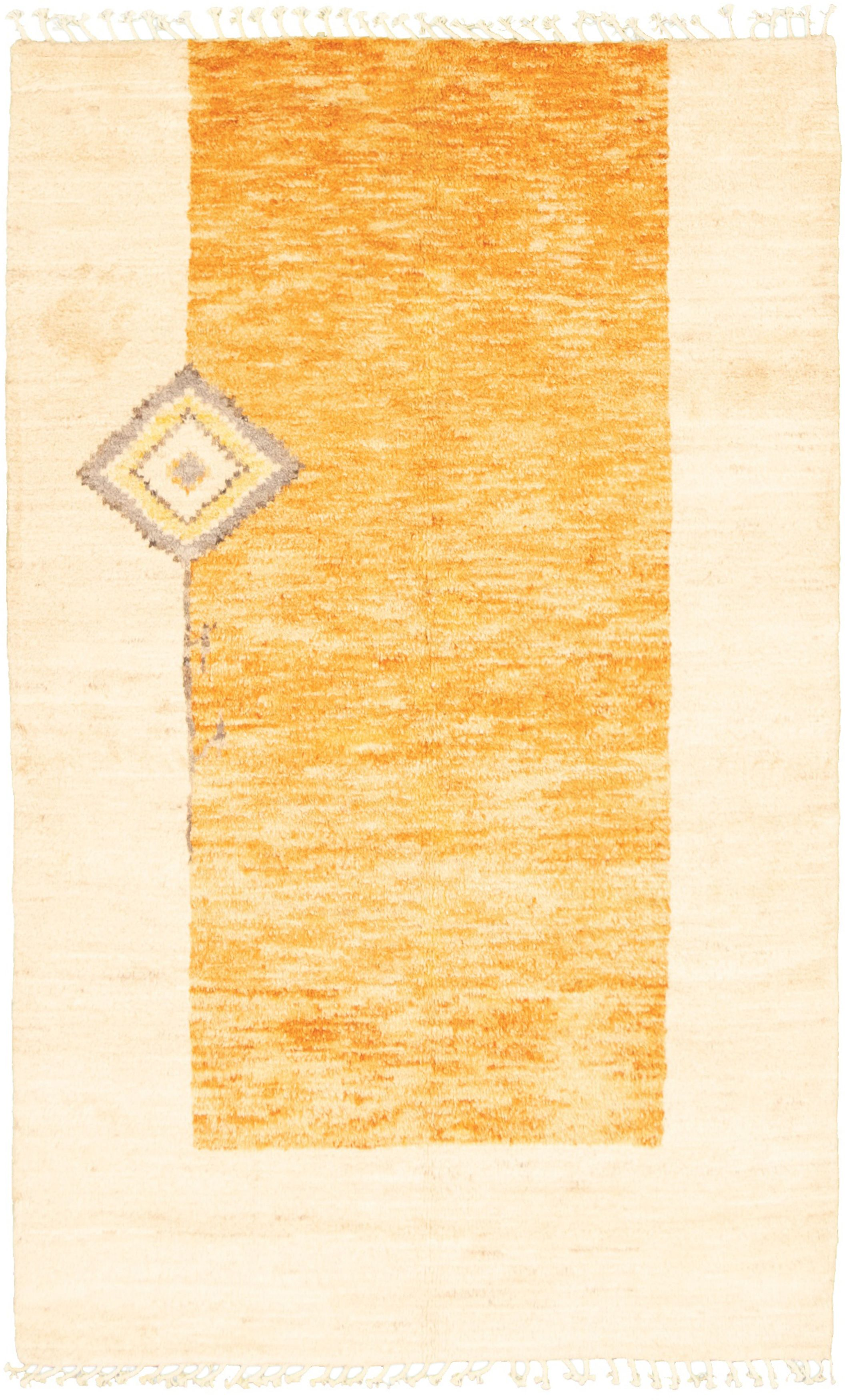 """Hand-knotted Marrakech Burnt Orange, Ivory  Rug 5'1"""" x 8'3"""" Size: 5'1"""" x 8'3"""""""