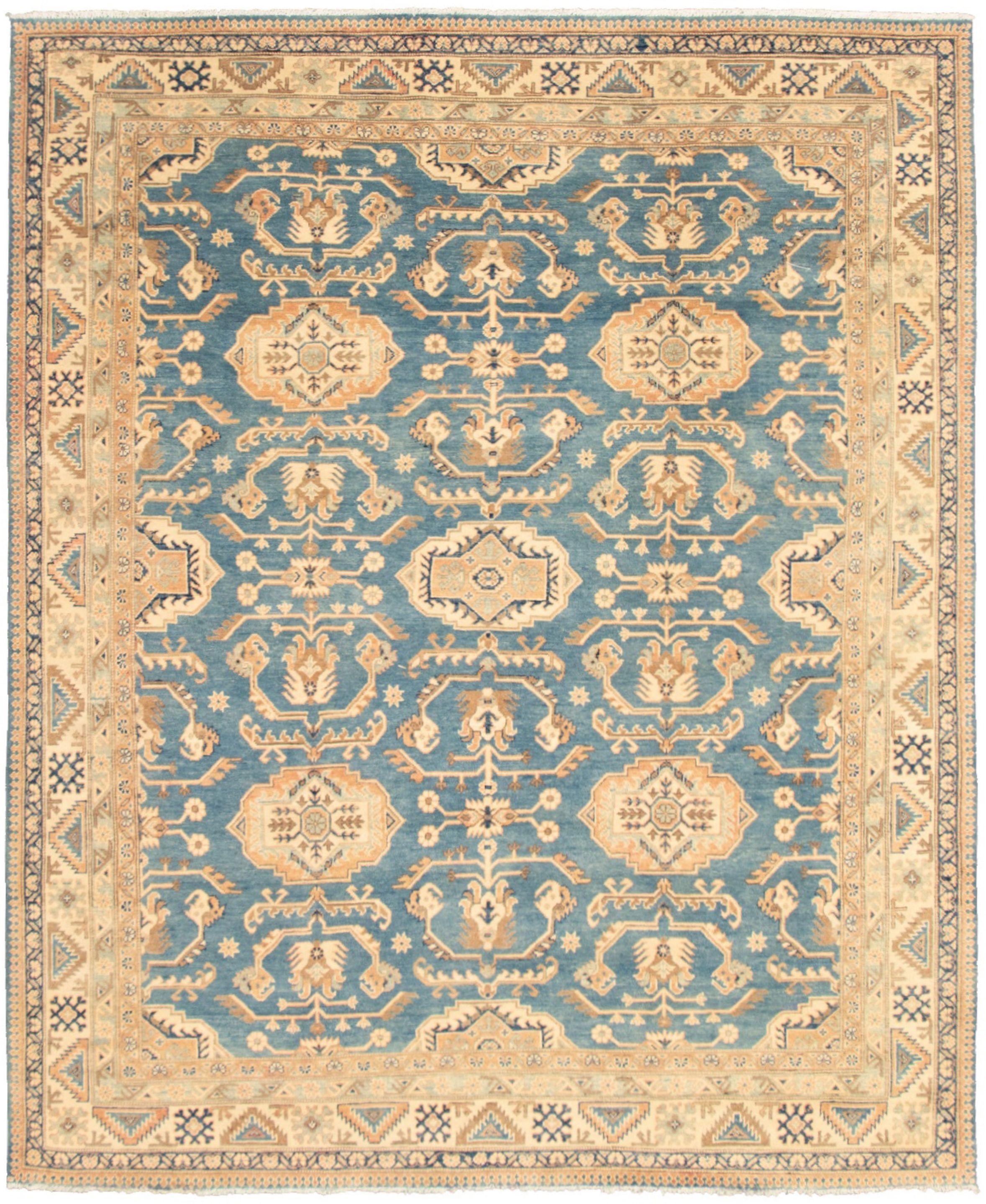 """Hand-knotted Finest Ushak Blue, Ivory  Rug 8'0"""" x 9'10"""" Size: 8'0"""" x 9'10"""""""