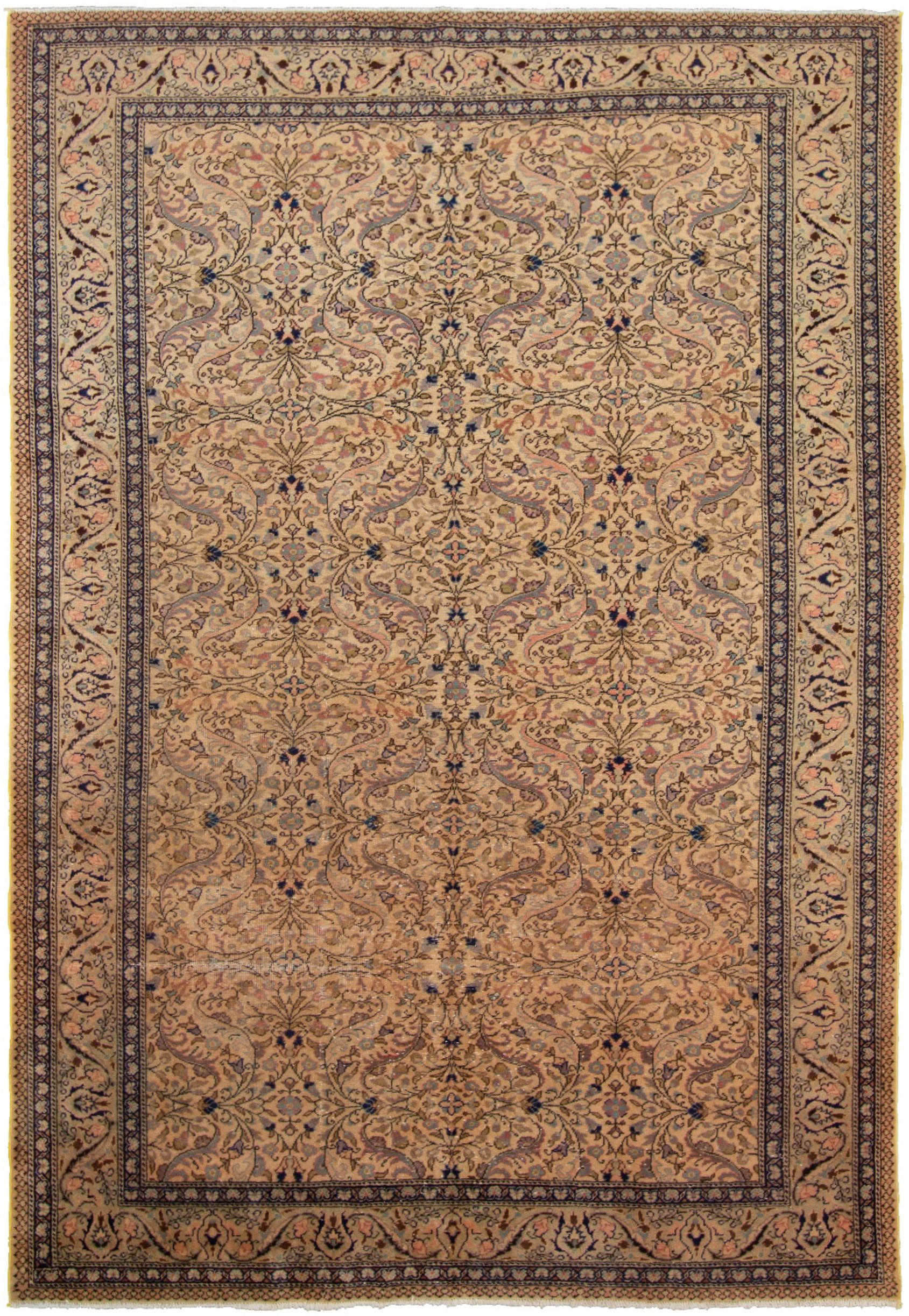 """Hand-knotted Keisari Vintage Blue, Ivory  Rug 6'6"""" x 9'5"""" Size: 6'6"""" x 9'5"""""""