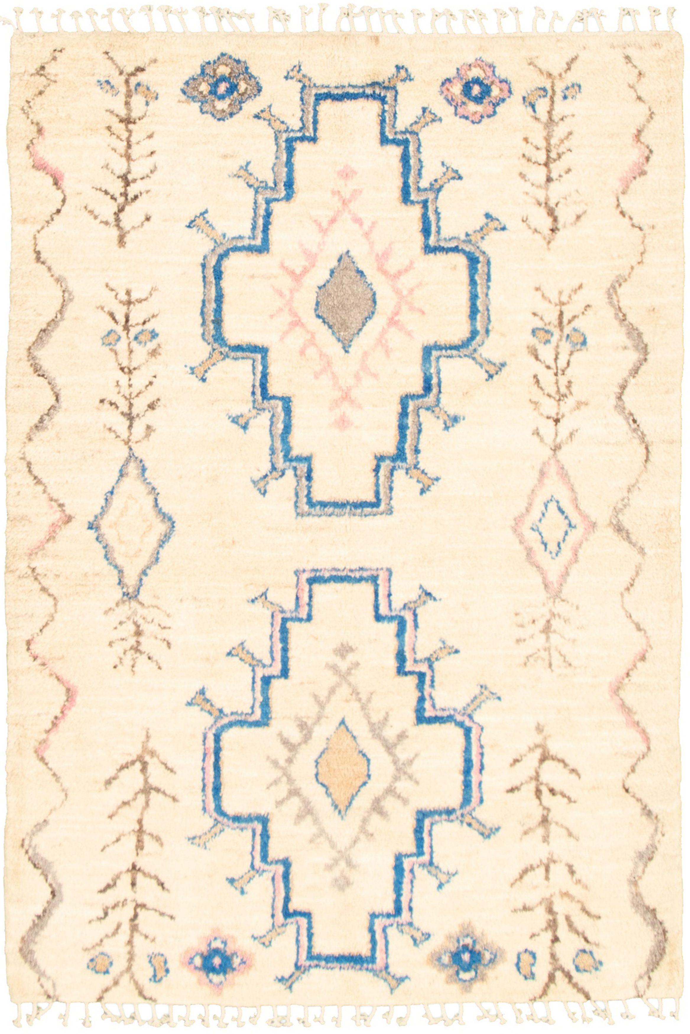 """Hand-knotted Marrakech Ivory  Rug 4'10"""" x 7'1"""" Size: 4'10"""" x 7'1"""""""