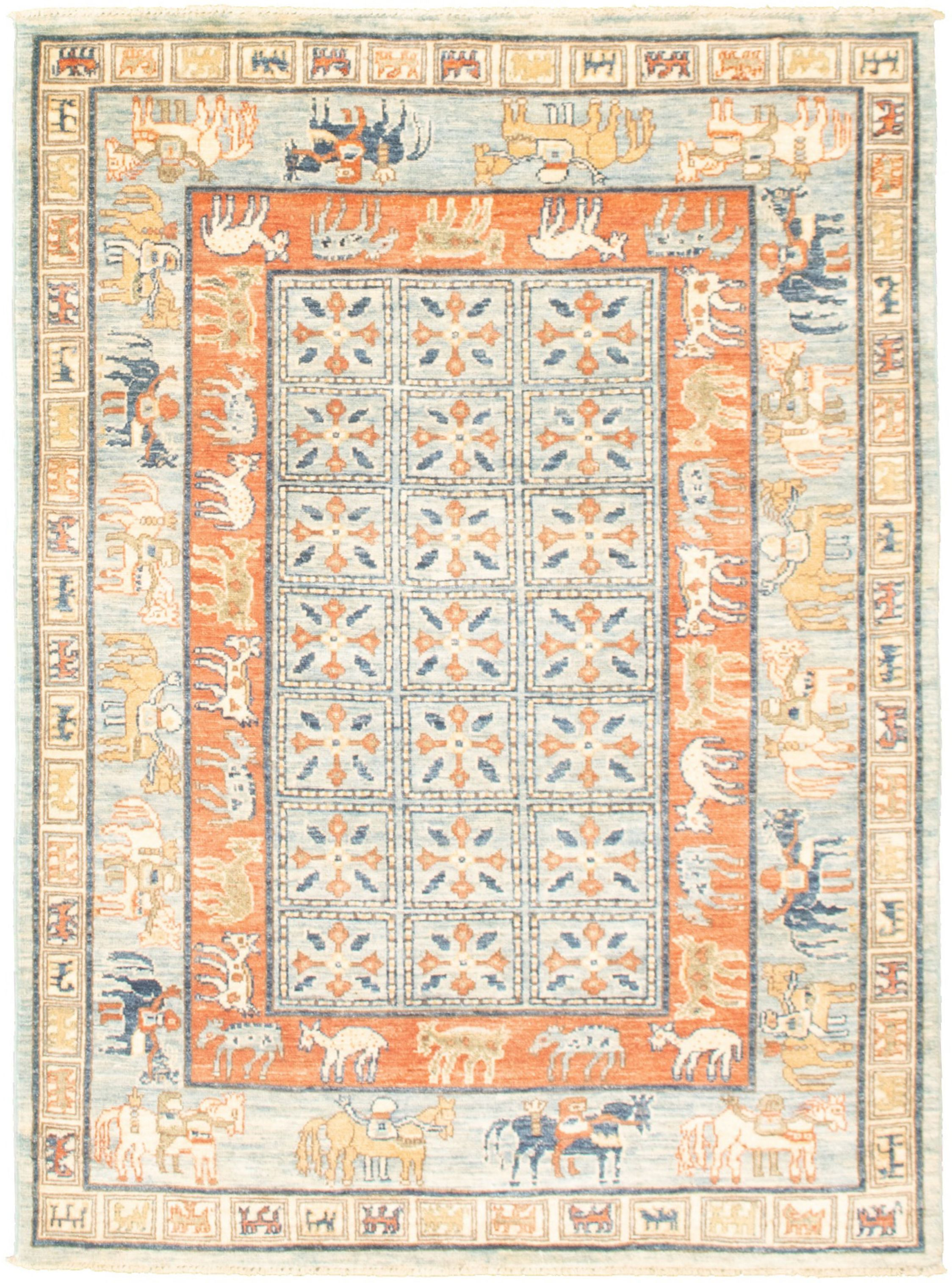 """Hand-knotted Aryana Light Blue   Rug 4'2"""" x 5'11"""" Size: 4'2"""" x 5'11"""""""