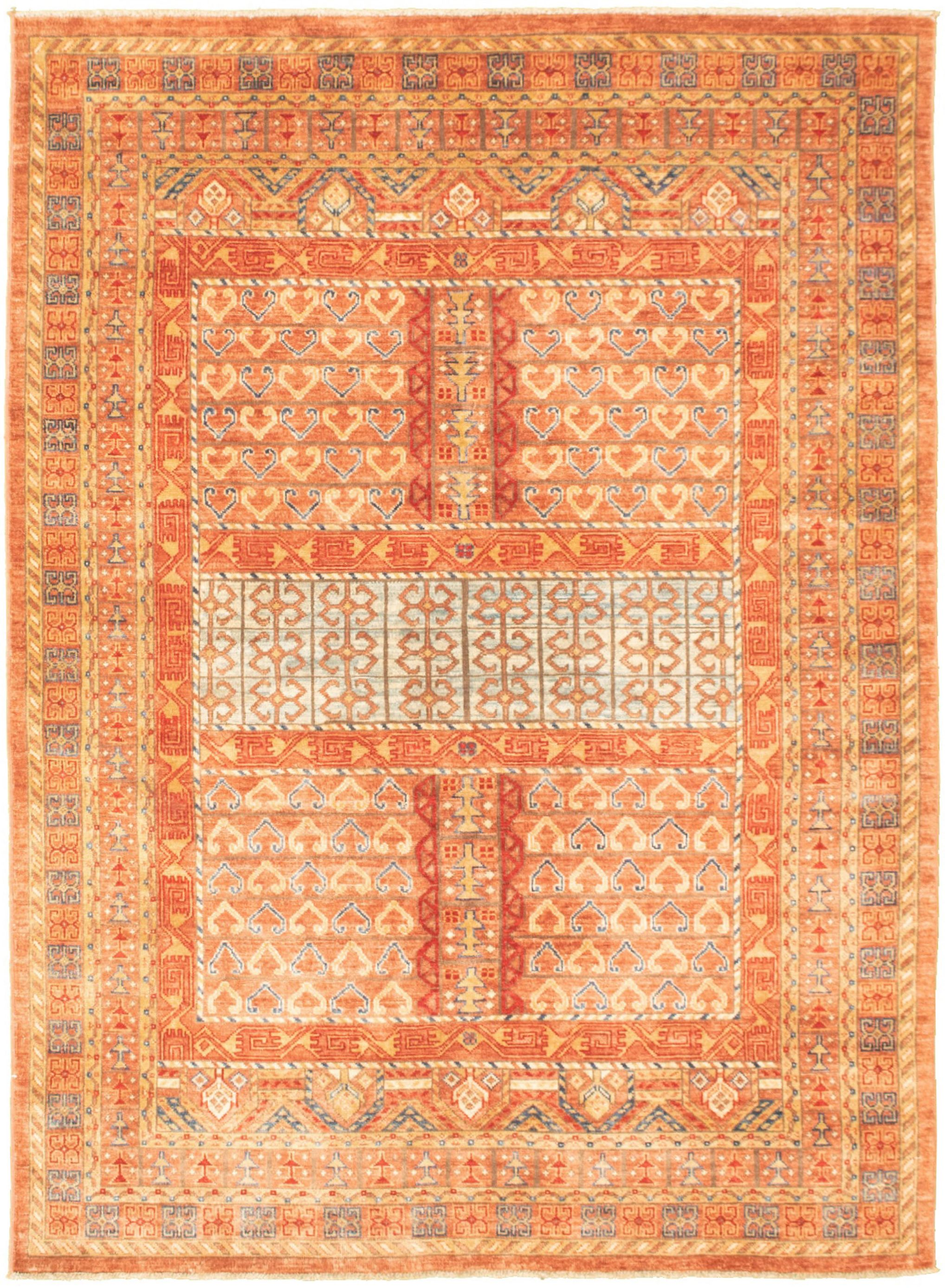 """Hand-knotted Aryana Dark Copper  Rug 5'4"""" x 7'7"""" Size: 5'4"""" x 7'7"""""""