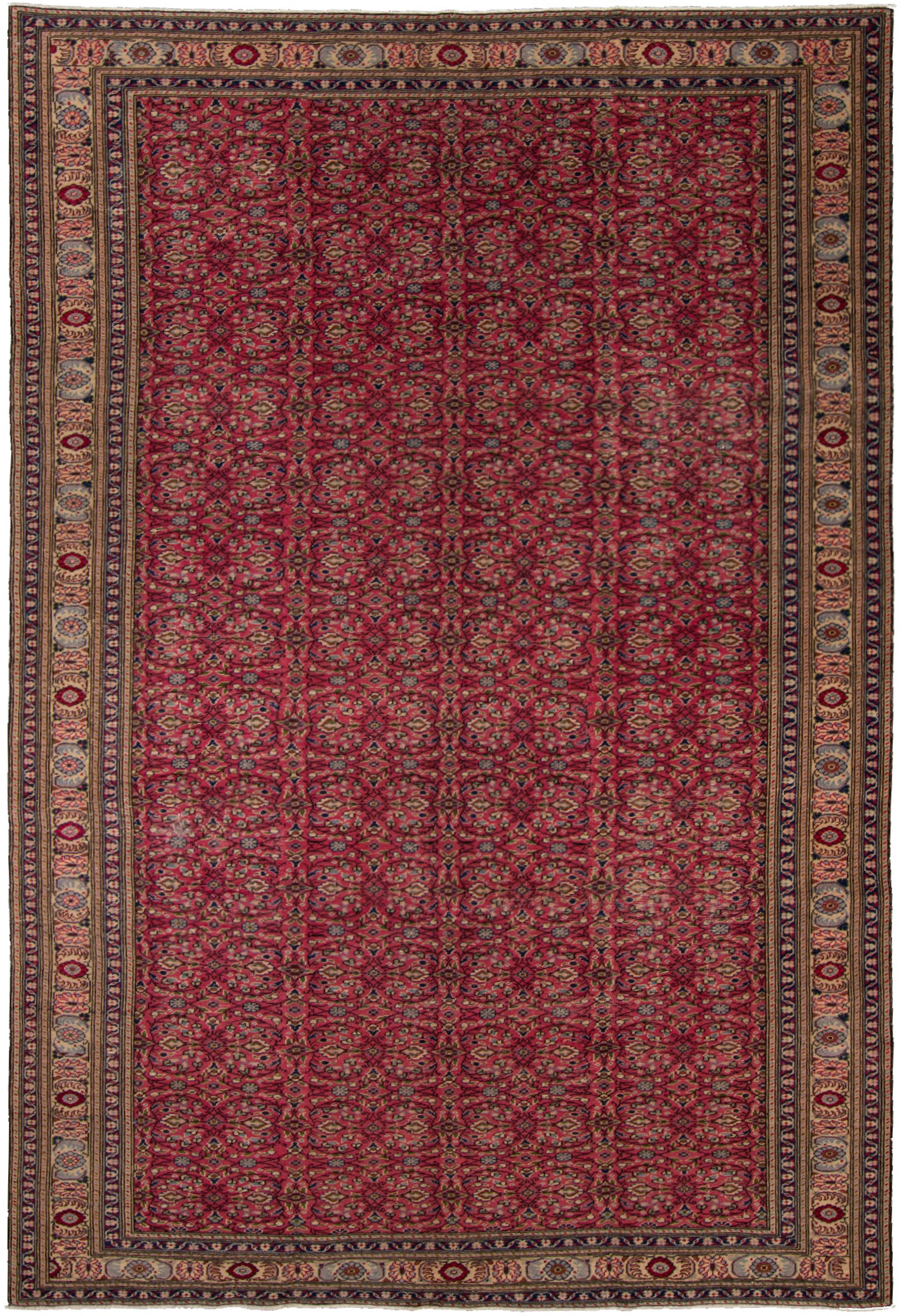 """Hand-knotted Keisari Vintage Blue, Red  Rug 6'4"""" x 9'7"""" Size: 6'4"""" x 9'7"""""""