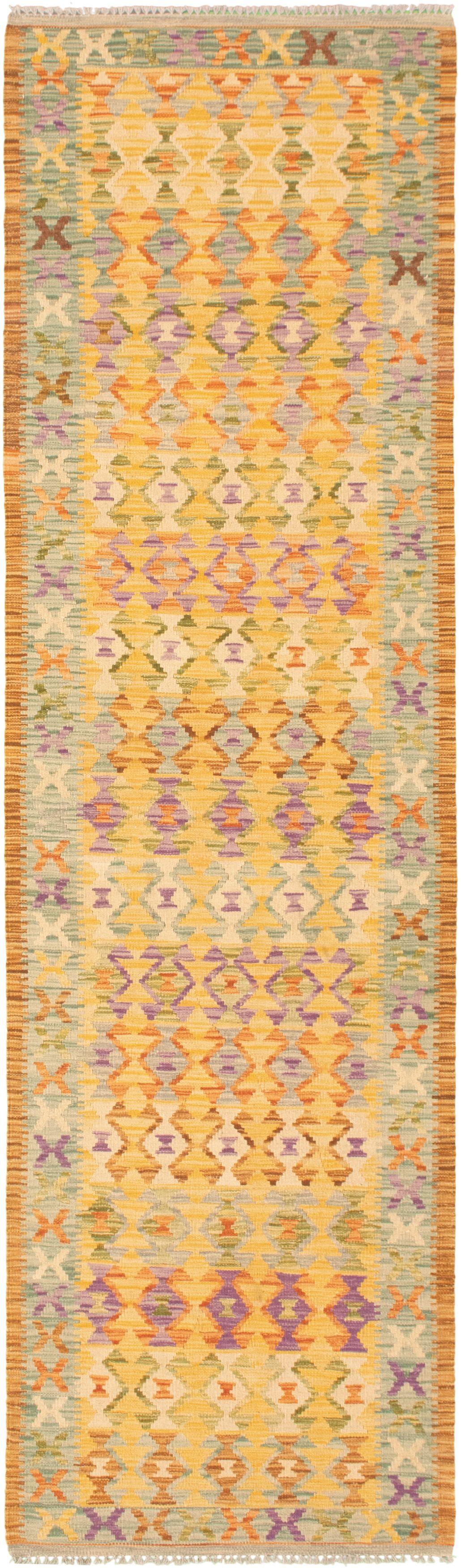 "Hand woven Bold and Colorful  Light Orange  Kilim 2'9"" x 9'11"" Size: 2'9"" x 9'11"""