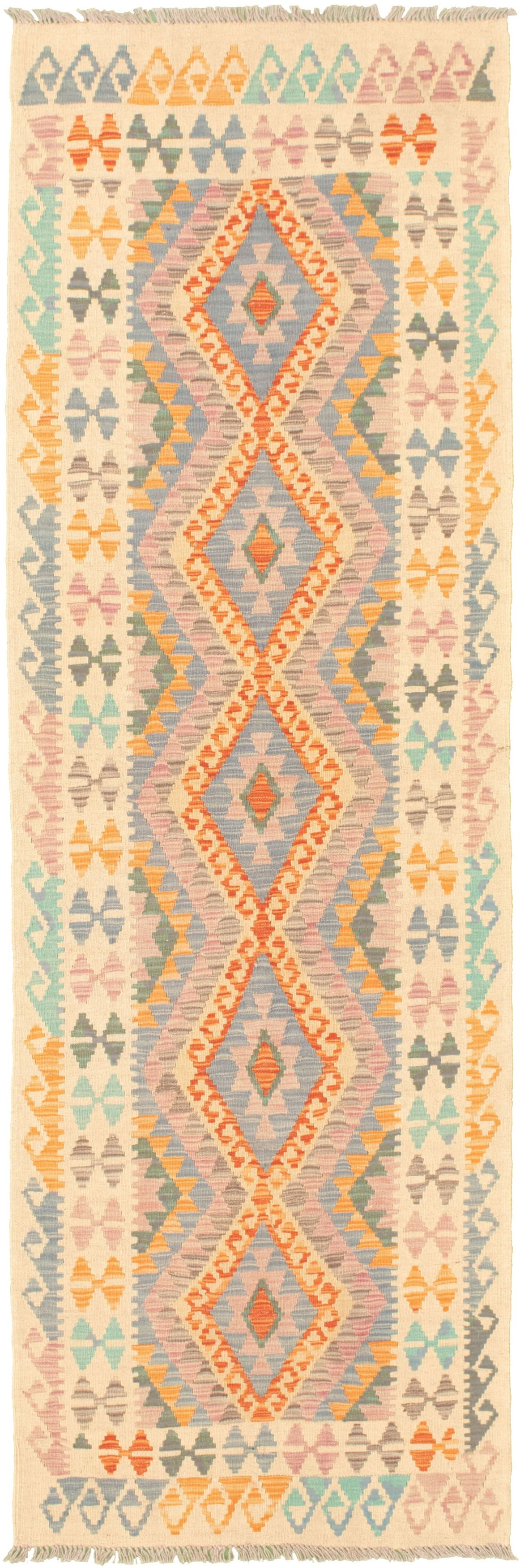 "Hand woven Bold and Colorful  Cream, Orange  Kilim 2'10"" x 9'3"" Size: 2'10"" x 9'3"""