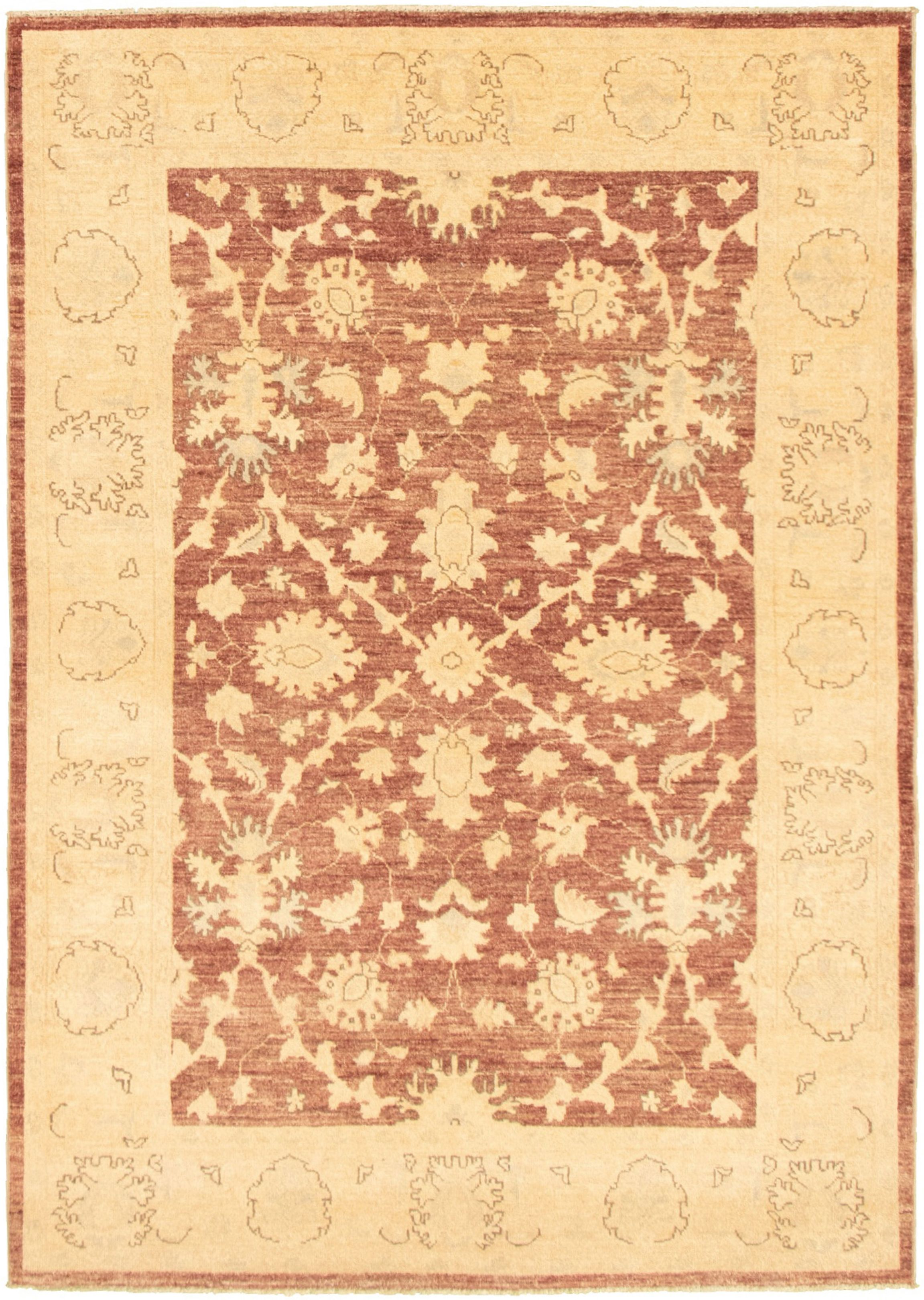 """Hand-knotted Peshawar Oushak Brown  Rug 4'11"""" x 7'1"""" Size: 4'11"""" x 7'1"""""""