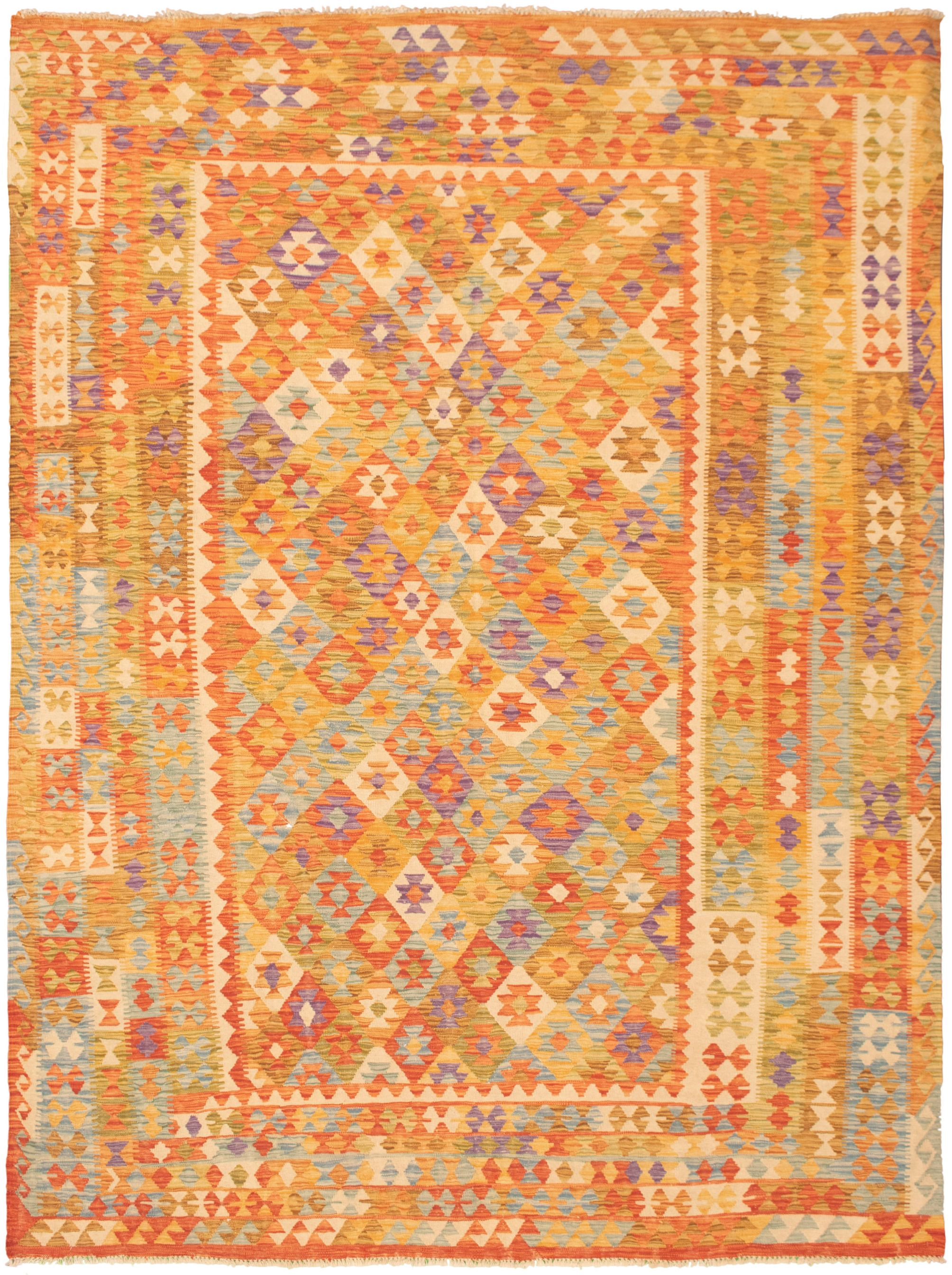 """Hand woven Bold and Colorful  Orange, Red  Kilim 8'2"""" x 11'1"""" Size: 8'2"""" x 11'1"""""""