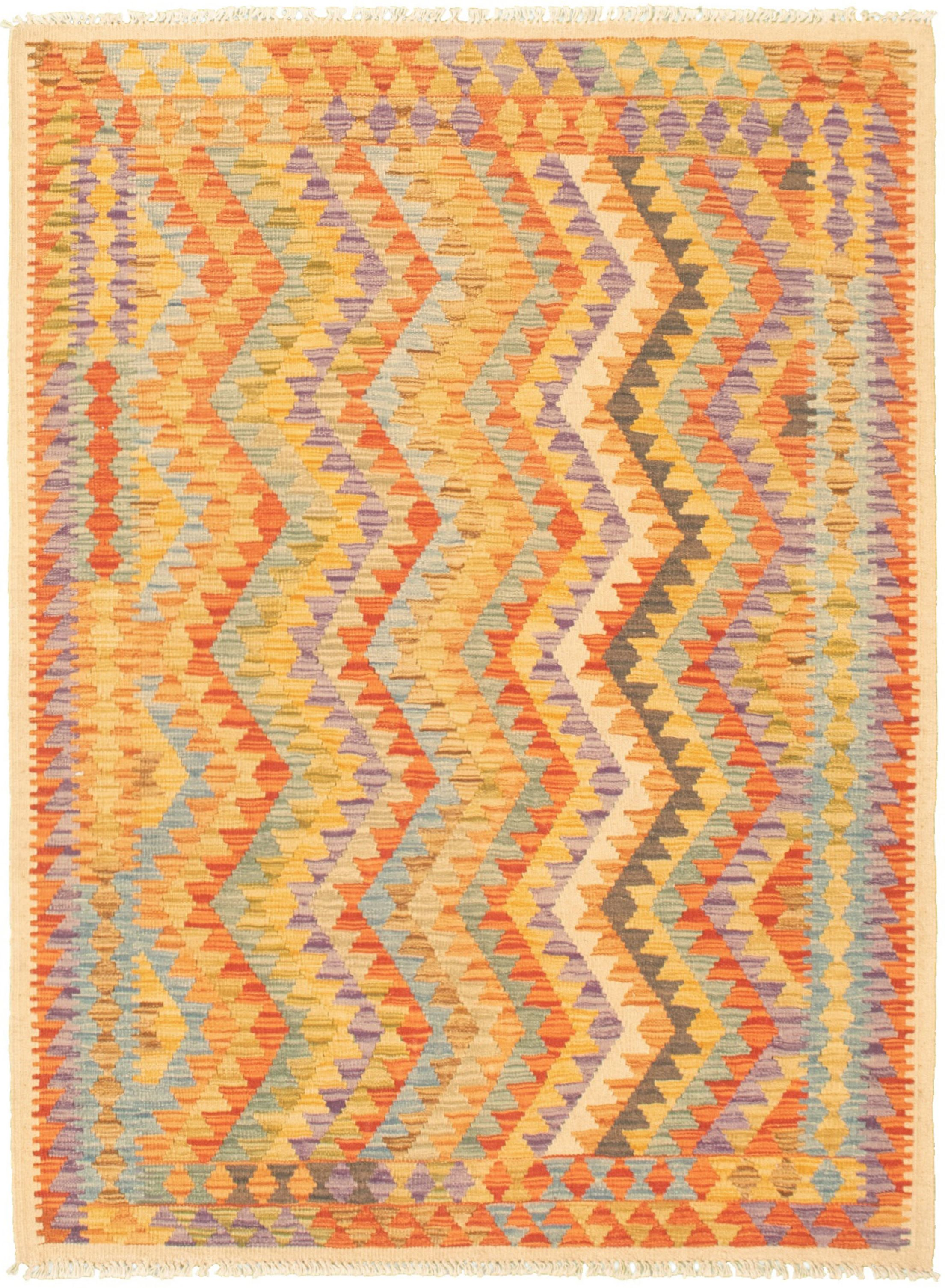 """Hand woven Bold and Colorful  Light Orange, Red  Kilim 3'11"""" x 5'8"""" Size: 3'11"""" x 5'8"""""""