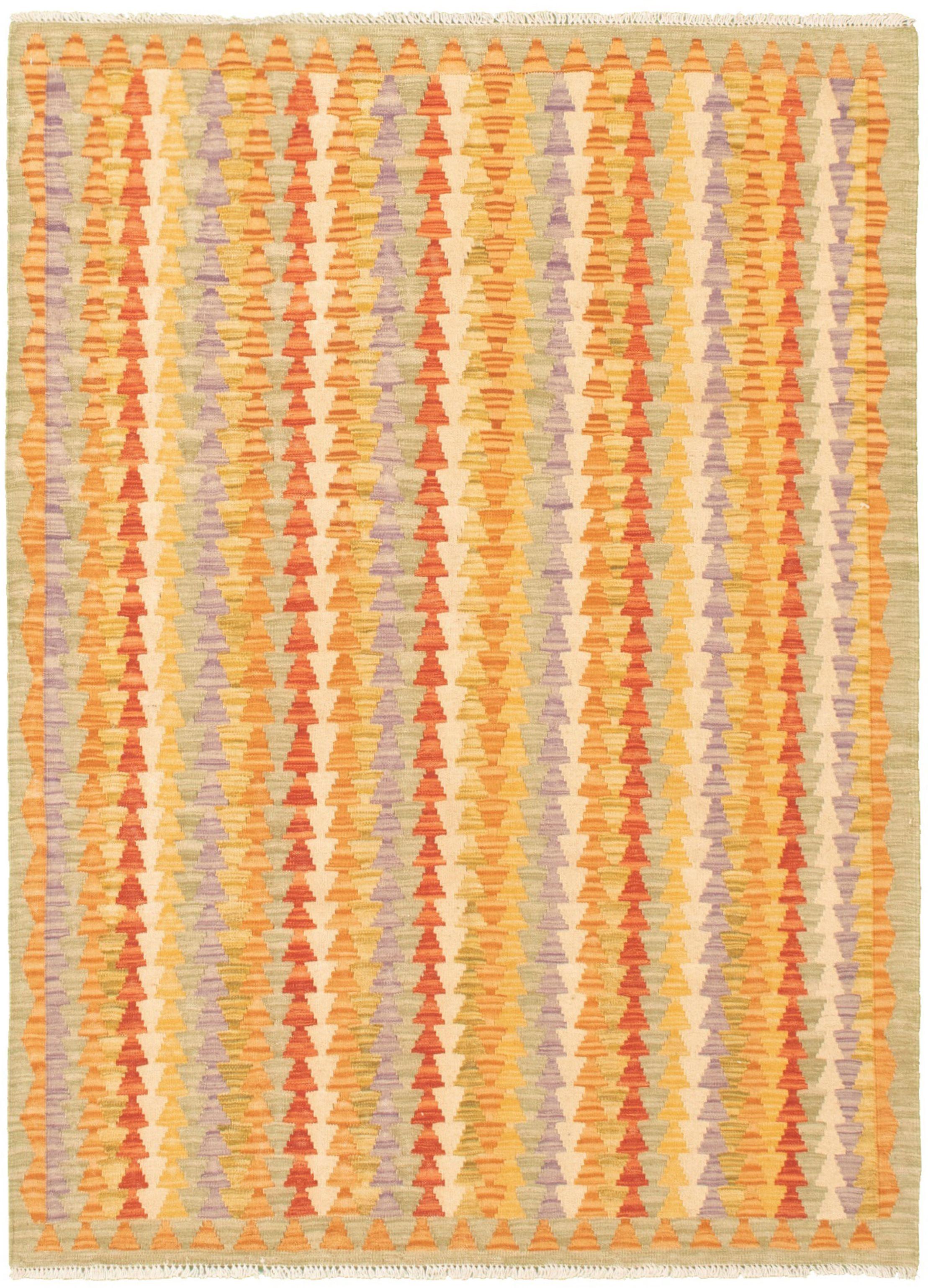 "Hand woven Bold and Colorful  Burnt Orange, Cream  Kilim 4'2"" x 5'11"" Size: 4'2"" x 5'11"""