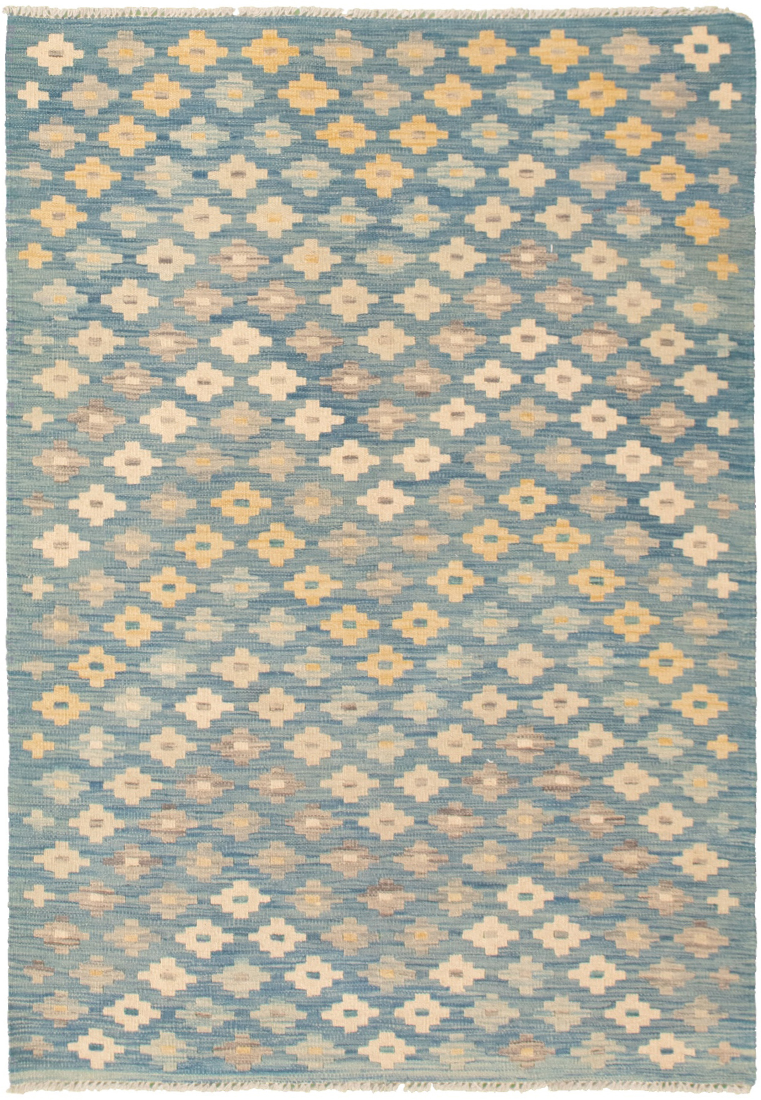 """Hand woven Bold and Colorful  Navy Blue  Kilim 4'0"""" x 5'11"""" Size: 4'0"""" x 5'11"""""""