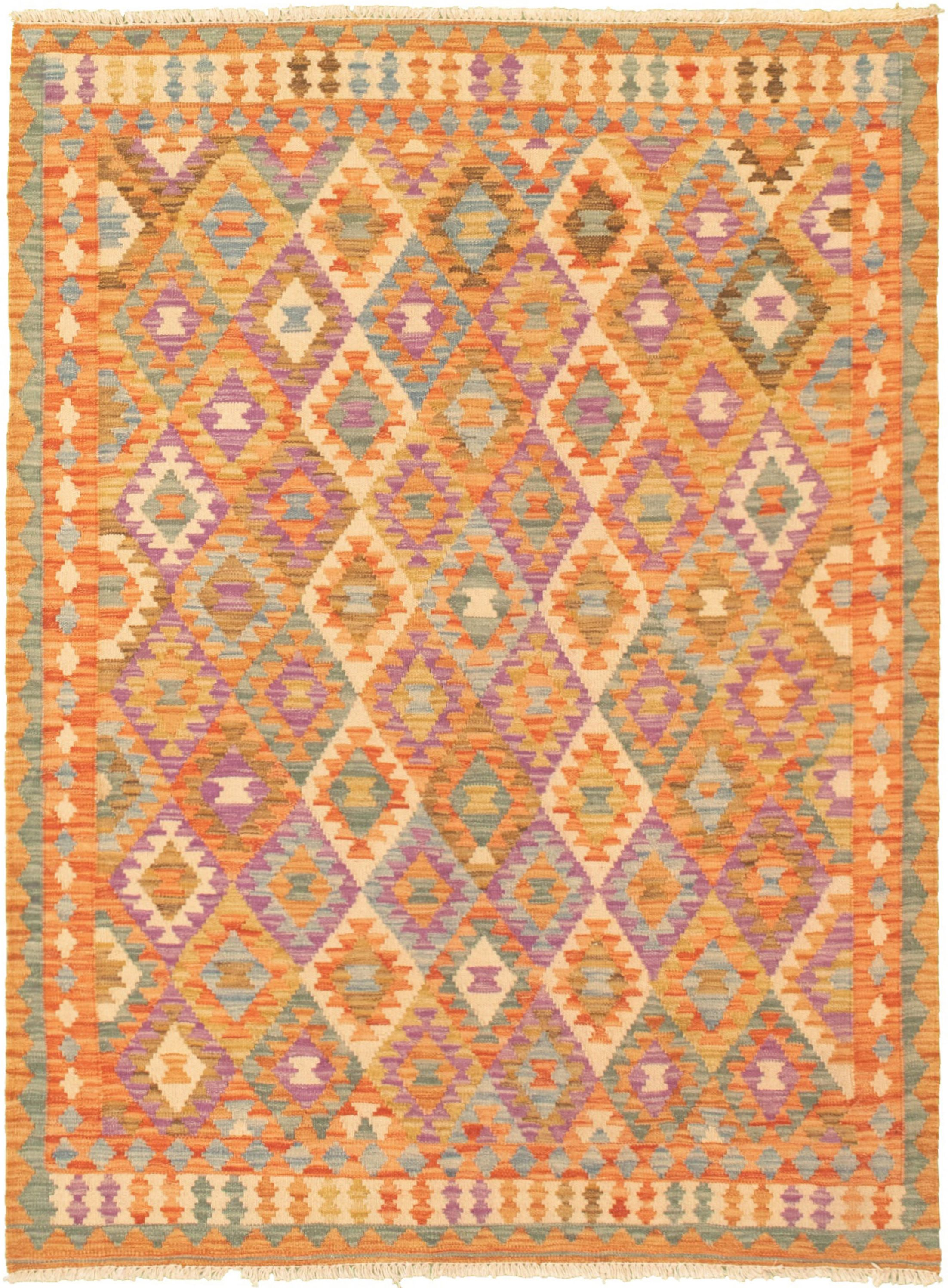 "Hand woven Bold and Colorful  Orange  Kilim 4'2"" x 5'8"" Size: 4'2"" x 5'8"""