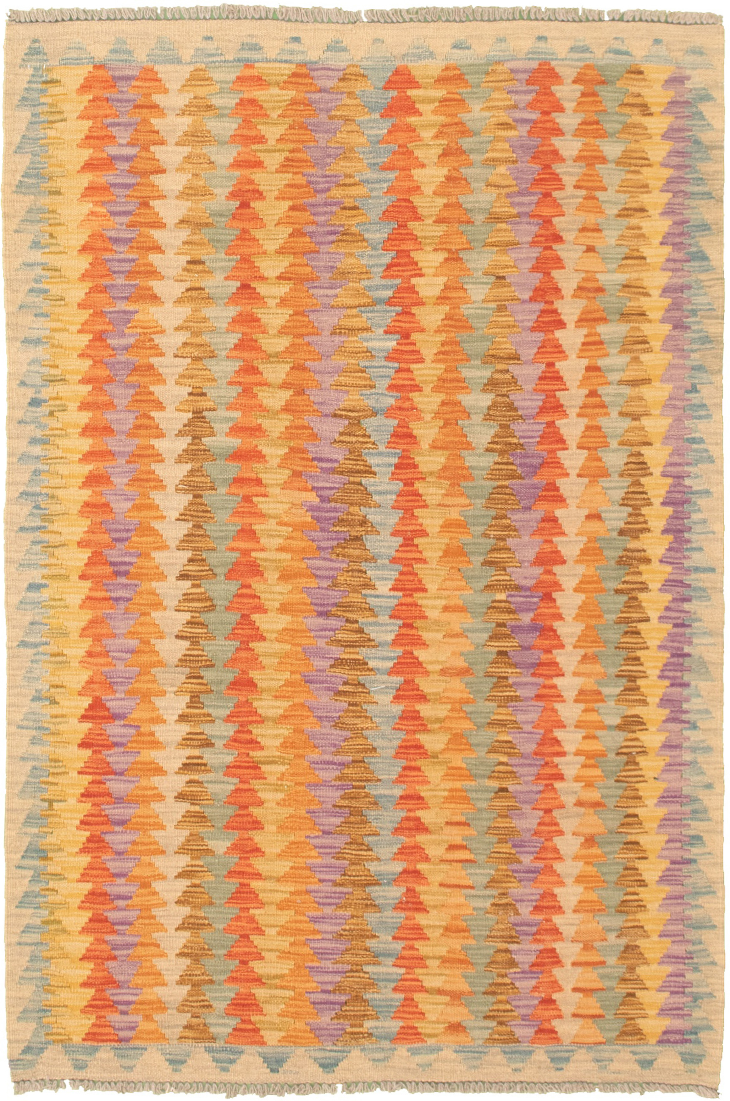 """Hand woven Bold and Colorful  Orange, Red  Kilim 3'11"""" x 5'11"""" Size: 3'11"""" x 5'11"""""""