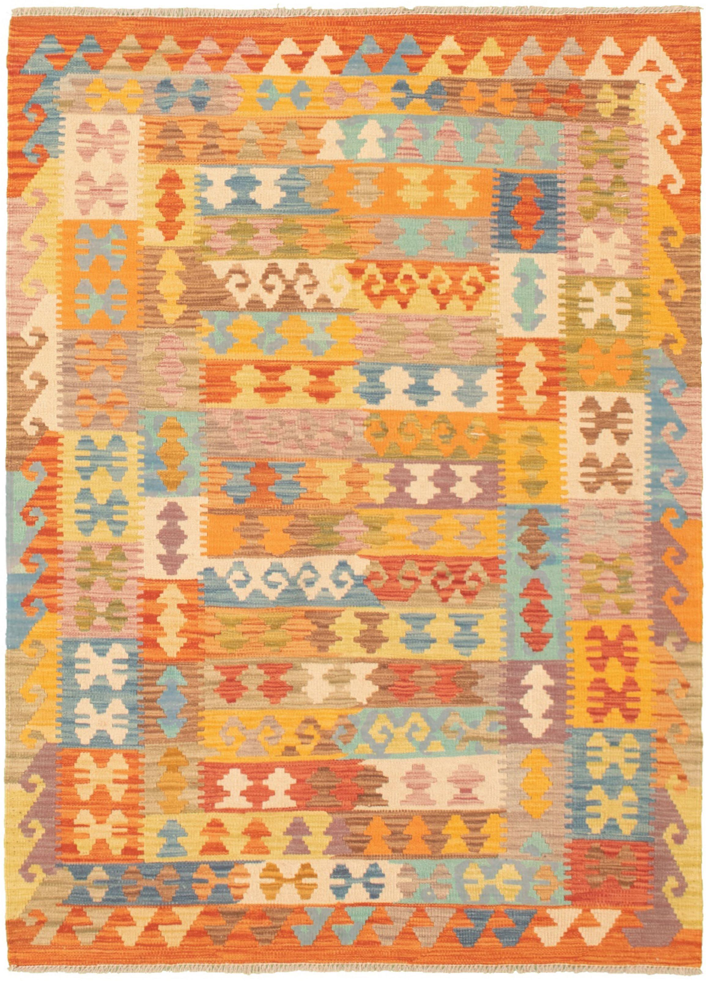 "Hand woven Bold and Colorful  Light Orange, Orange  Kilim 4'0"" x 5'10"" Size: 4'0"" x 5'10"""