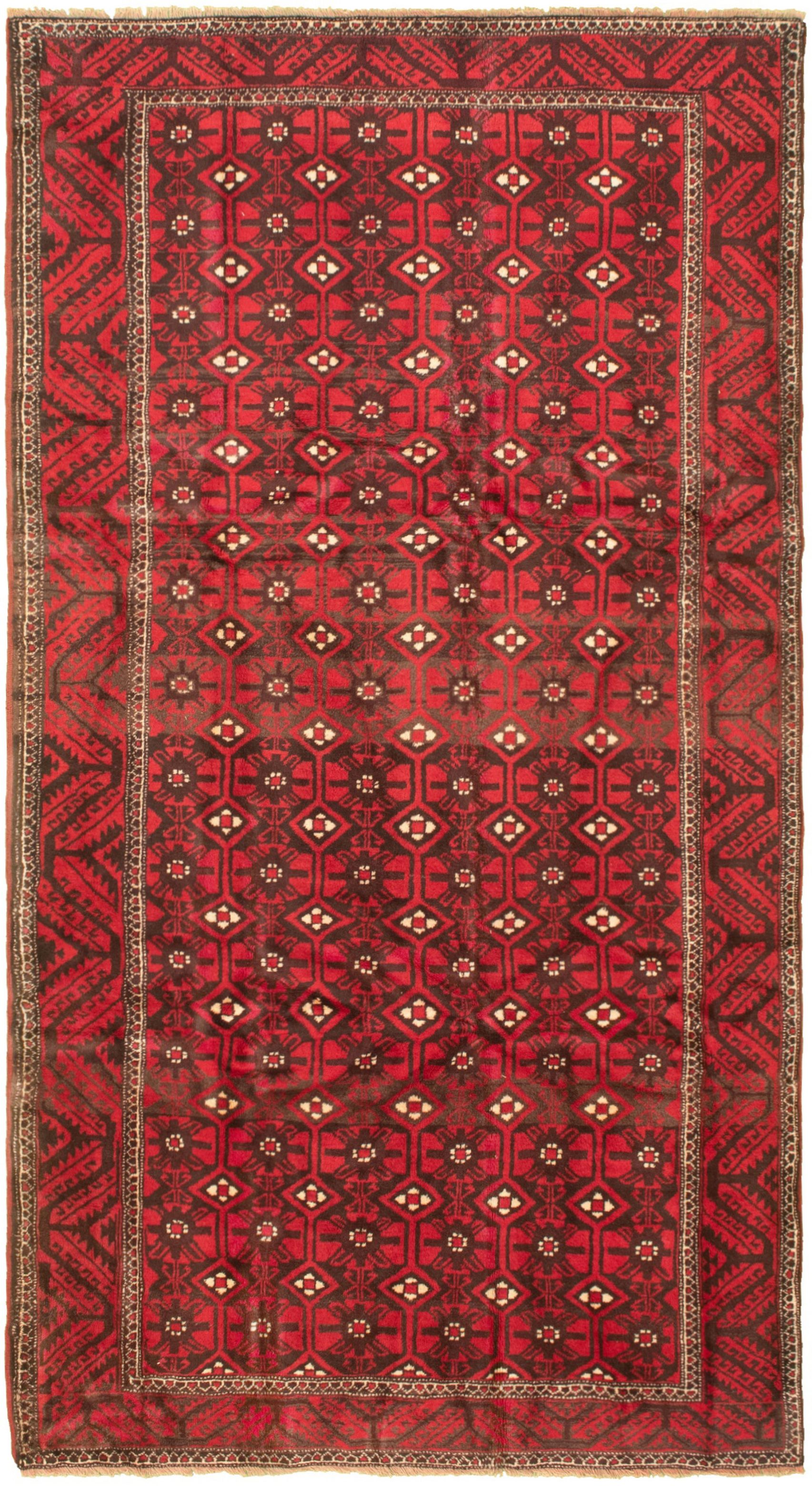 "Hand-knotted Authentic Turkish Red Wool Rug 5'0"" x 9'9""  Size: 5'0"" x 9'9"""