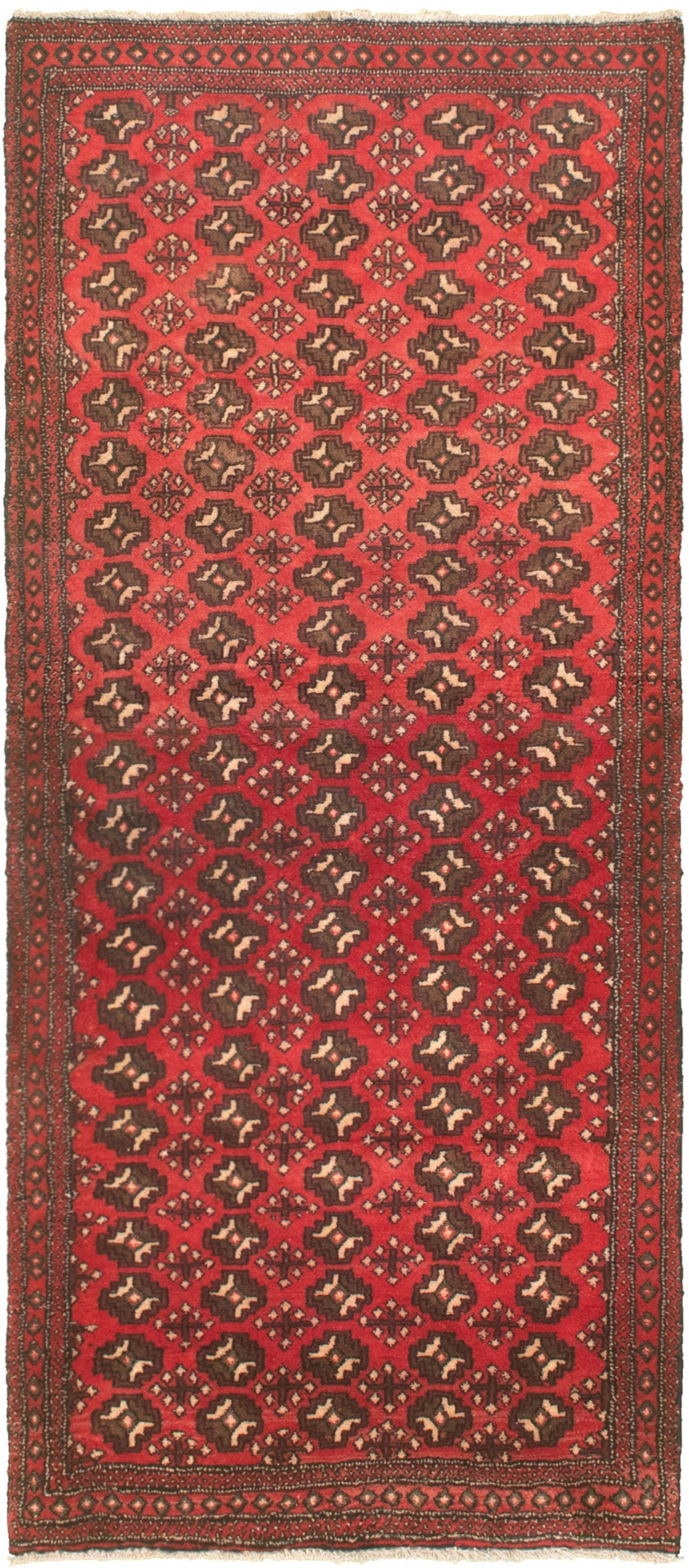 """Hand-knotted Authentic Turkish Red Wool Rug 2'6"""" x 6'7"""" Size: 2'6"""" x 6'7"""""""