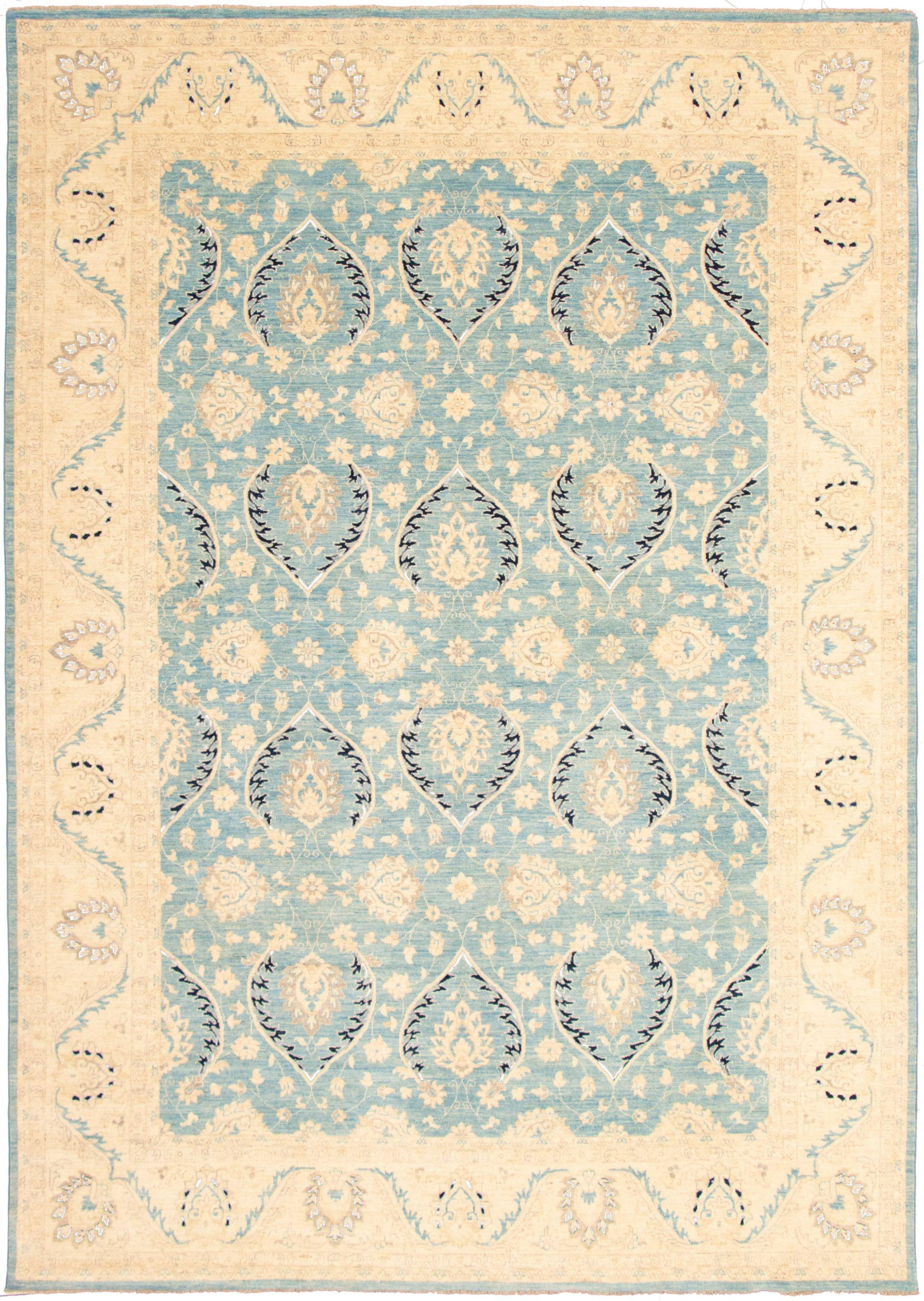 """Hand-knotted Peshawar Oushak Light Blue   Rug 9'7"""" x 13'9"""" Size: 9'7"""" x 13'9"""""""
