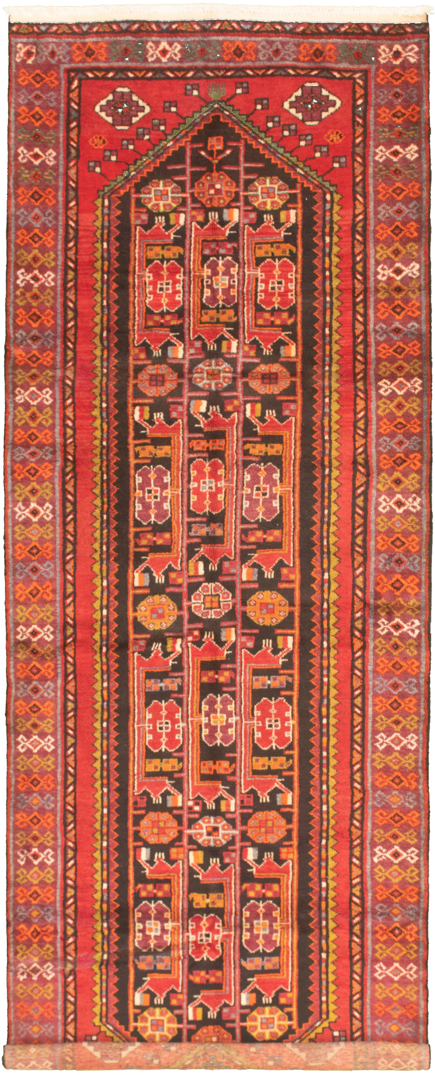 """Hand-knotted Authentic Turkish Red Wool Rug 3'7"""" x 10'2"""" Size: 3'7"""" x 10'2"""""""