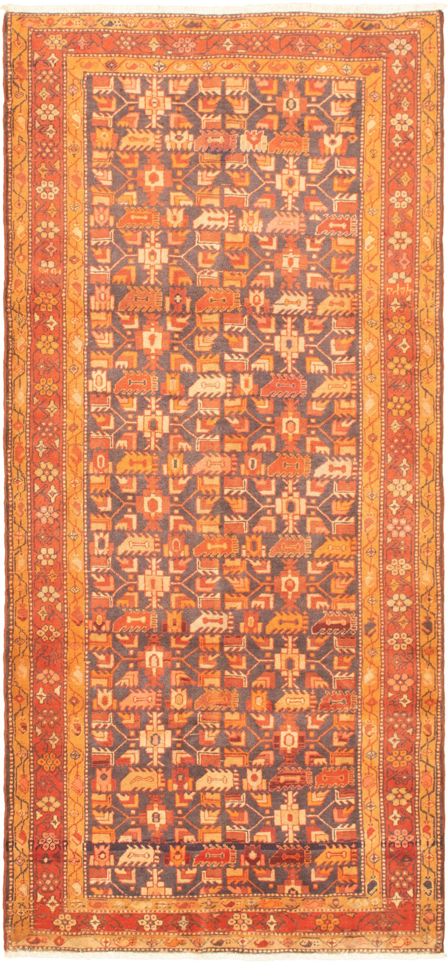 """Hand-knotted Authentic Turkish Light Orange Wool Rug 4'4"""" x 9'10"""" Size: 4'4"""" x 9'10"""""""