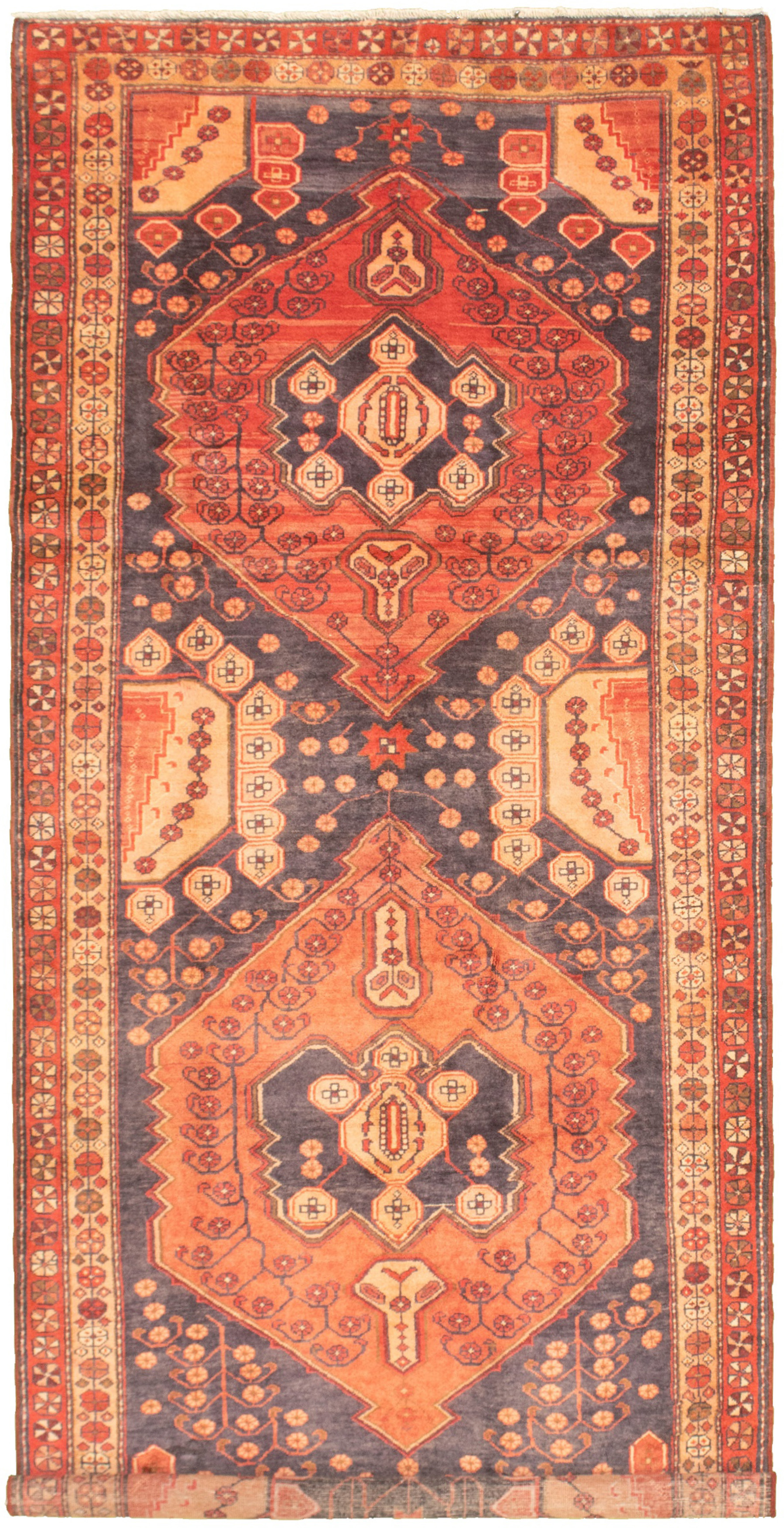 """Hand-knotted Authentic Turkish Navy Blue Wool Rug 4'4"""" x 10'2"""" Size: 4'4"""" x 10'2"""""""