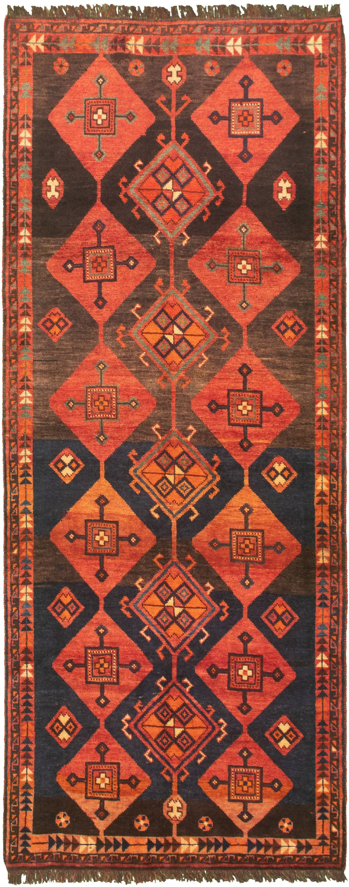 """Hand-knotted Authentic Turkish Dark Blue Wool Rug 3'6"""" x 9'2"""" Size: 3'6"""" x 9'2"""""""