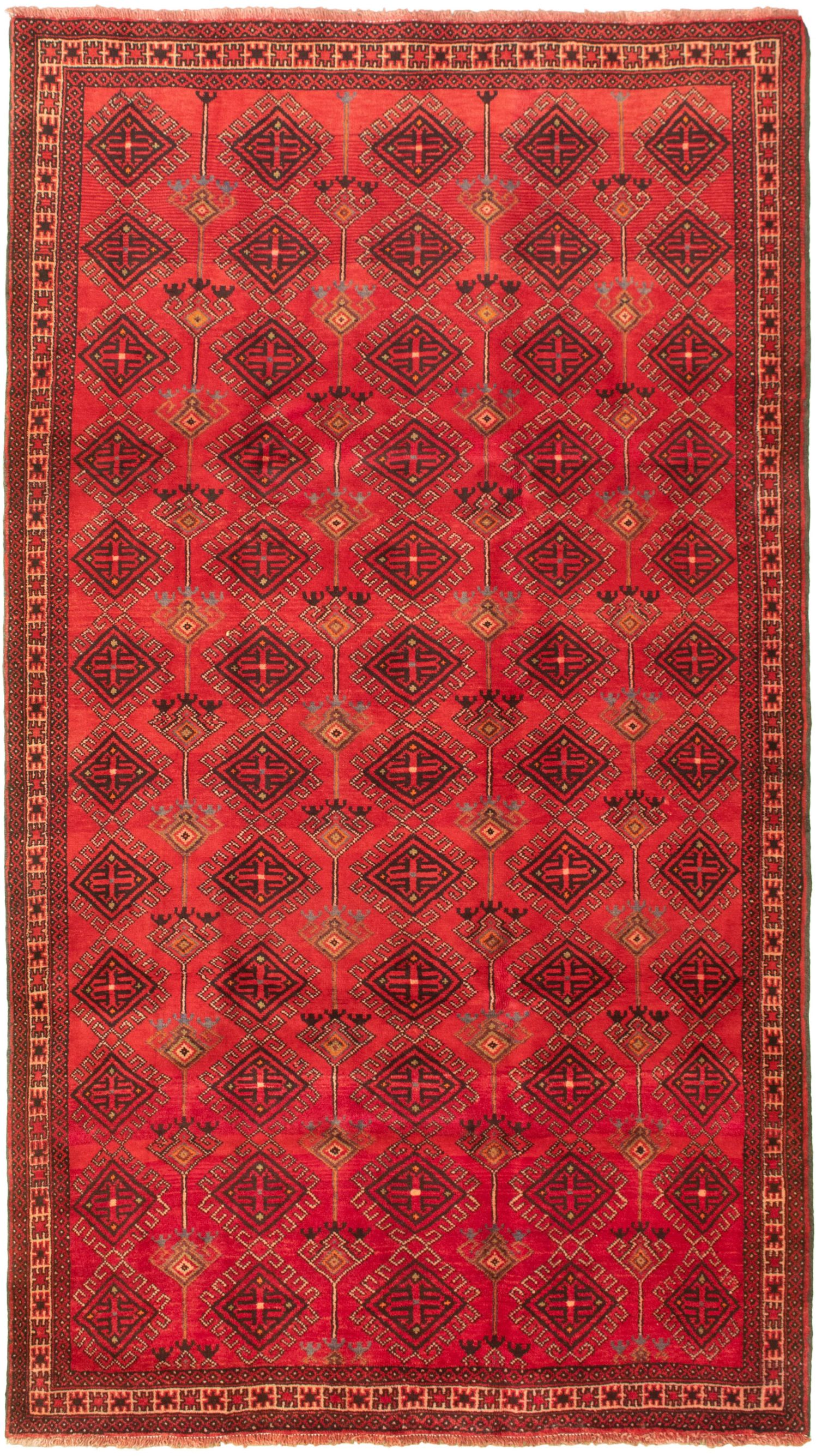 """Hand-knotted Authentic Turkish Red Wool Rug 5'7"""" x 10'1""""  Size: 5'7"""" x 10'1"""""""