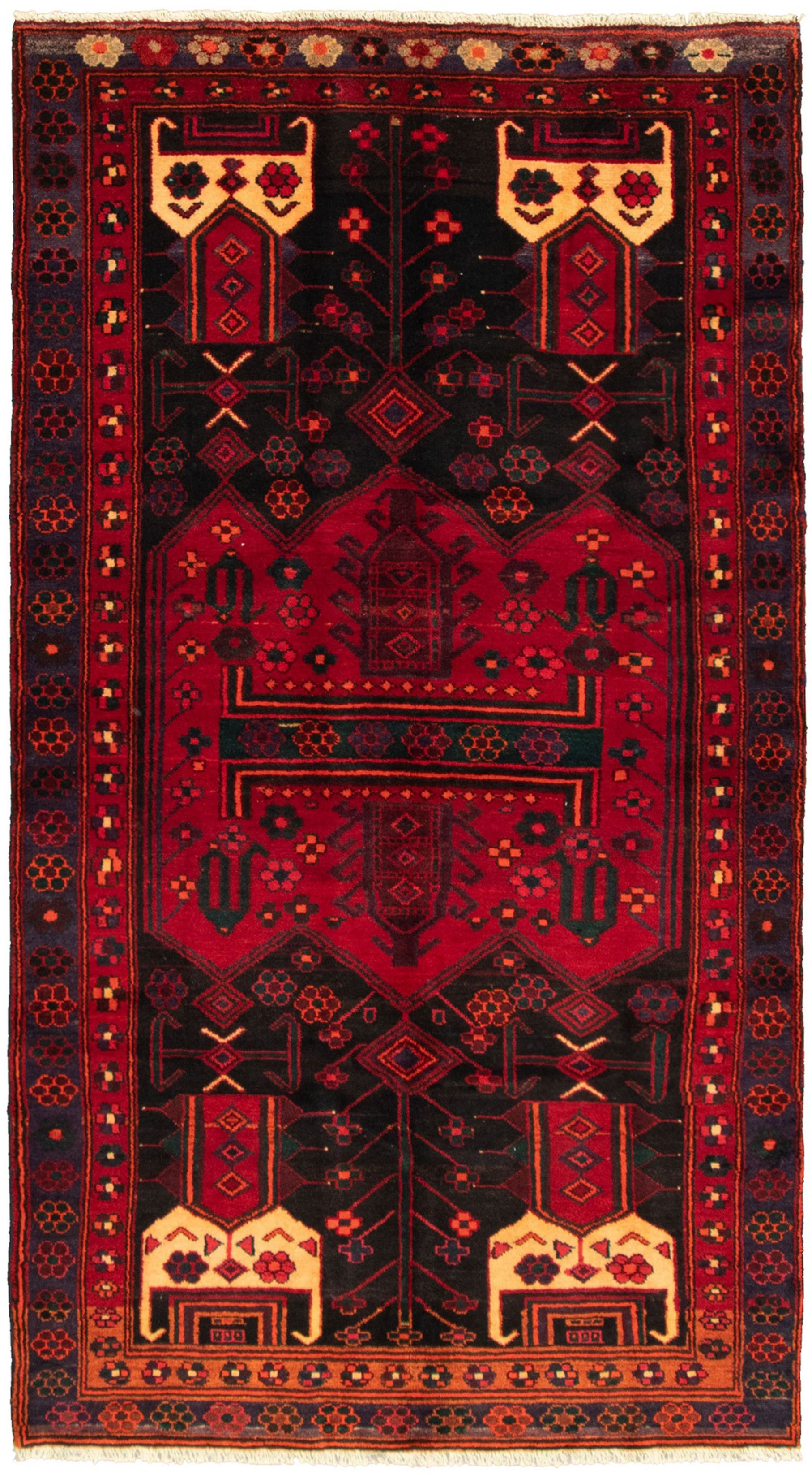 """Hand-knotted Caucasus Kula Red Wool Rug 4'3"""" x 8'0"""" Size: 4'3"""" x 8'0"""""""