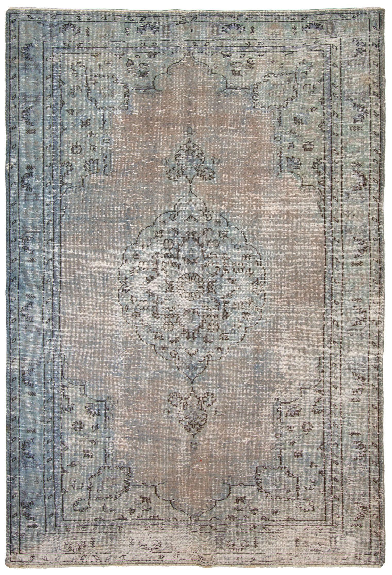 "Hand-knotted Anatolian Vintage Blue, Khaki, Light Blue ,  Wool Rug 8'11"" x 6'2"" Size: 6'2"" x 8'11"""