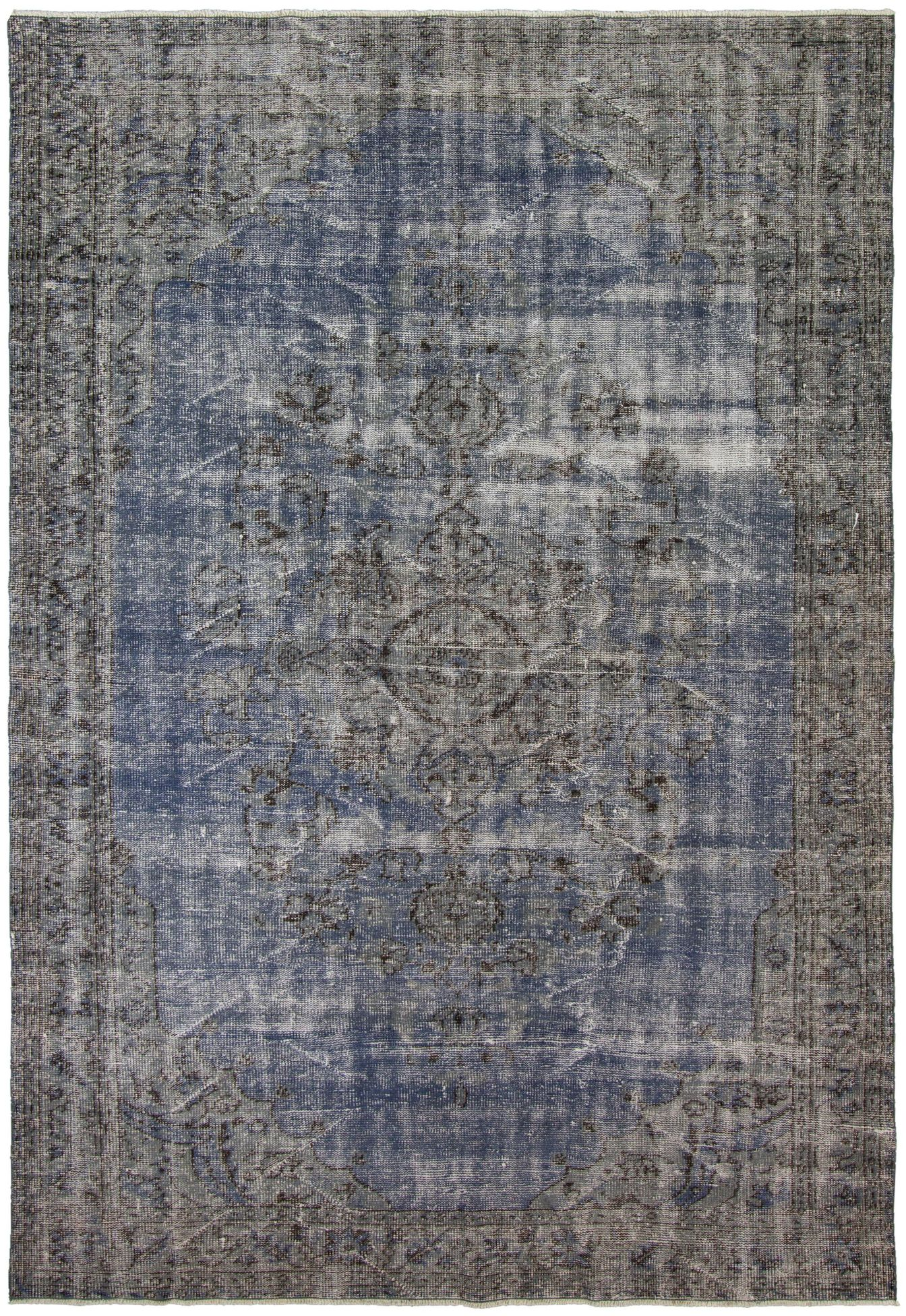 """Hand-knotted Anatolian Vintage Dark Blue,  Wool Rug 6'4"""" x 9'1"""" Size: 6'4"""" x 9'1"""""""