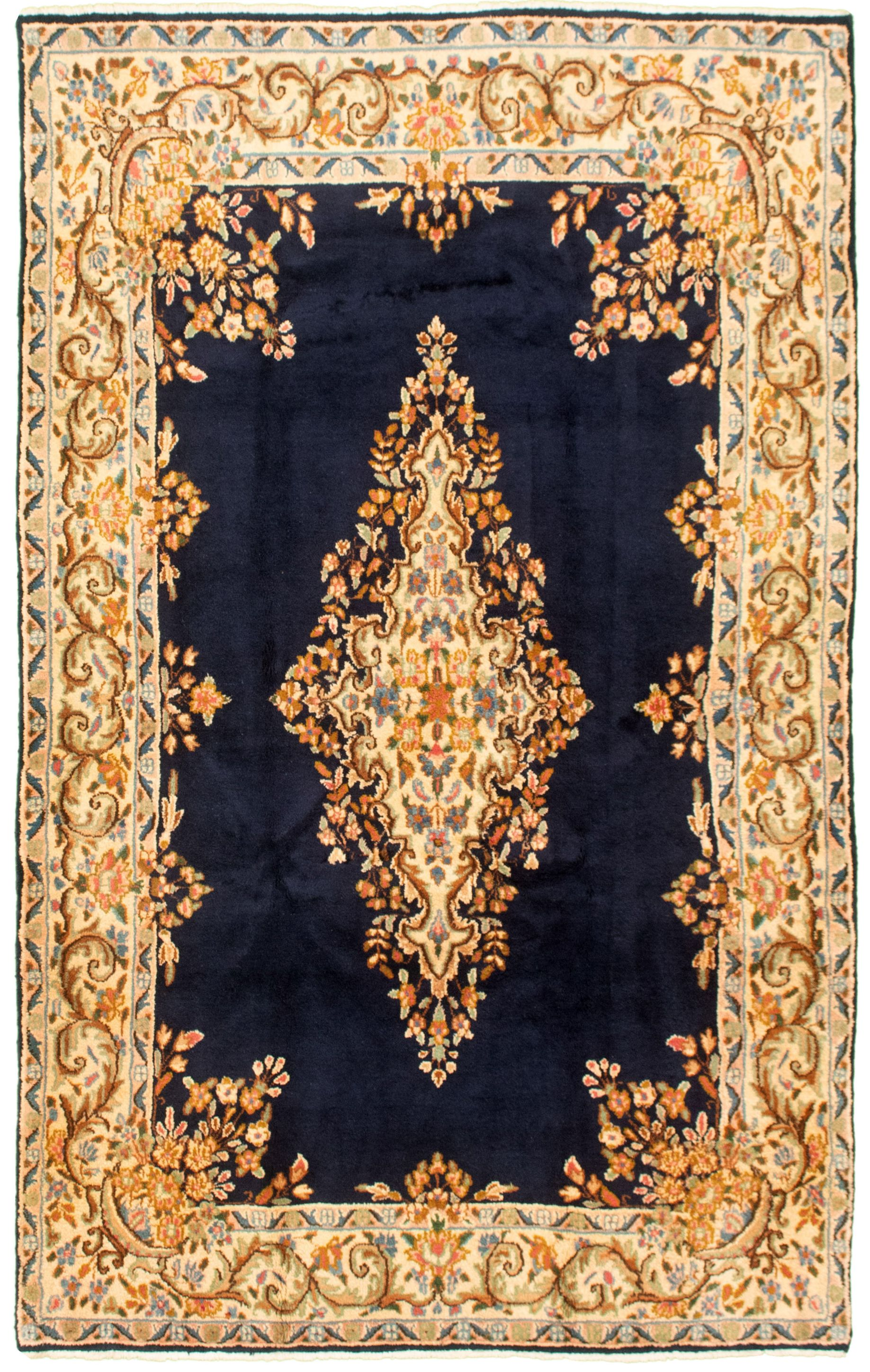 "Hand-knotted Royal Kerman Dark Navy Wool Rug 4'10"" x 7'8"" Size: 4'10"" x 7'8"""