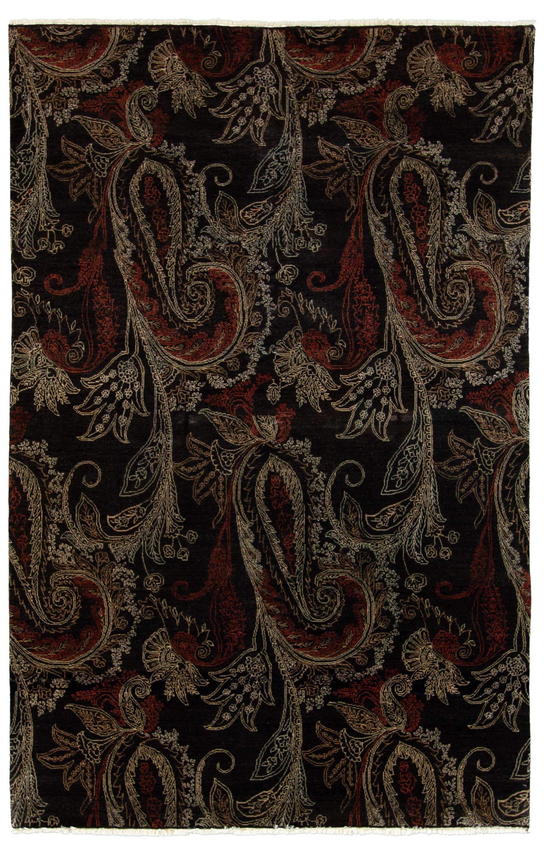 """Hand-knotted Shalimar Black  Rug 5'10"""" x 9'0"""" Size: 5'10"""" x 9'0"""""""