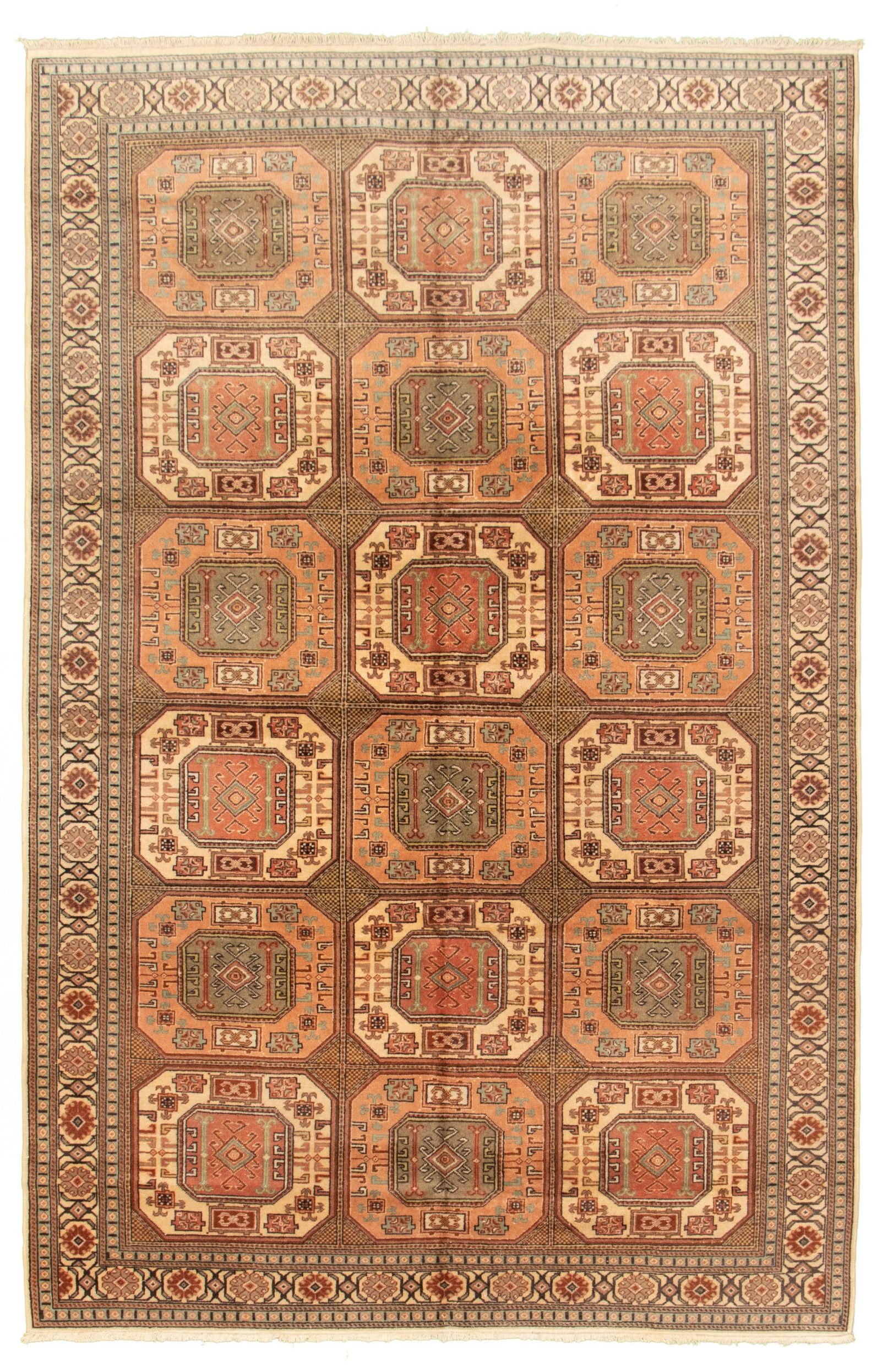 """Hand-knotted Keisari Vintage Ivory, Salmon Wool Rug 6'7"""" x 10'1"""" Size: 6'7"""" x 10'1"""""""