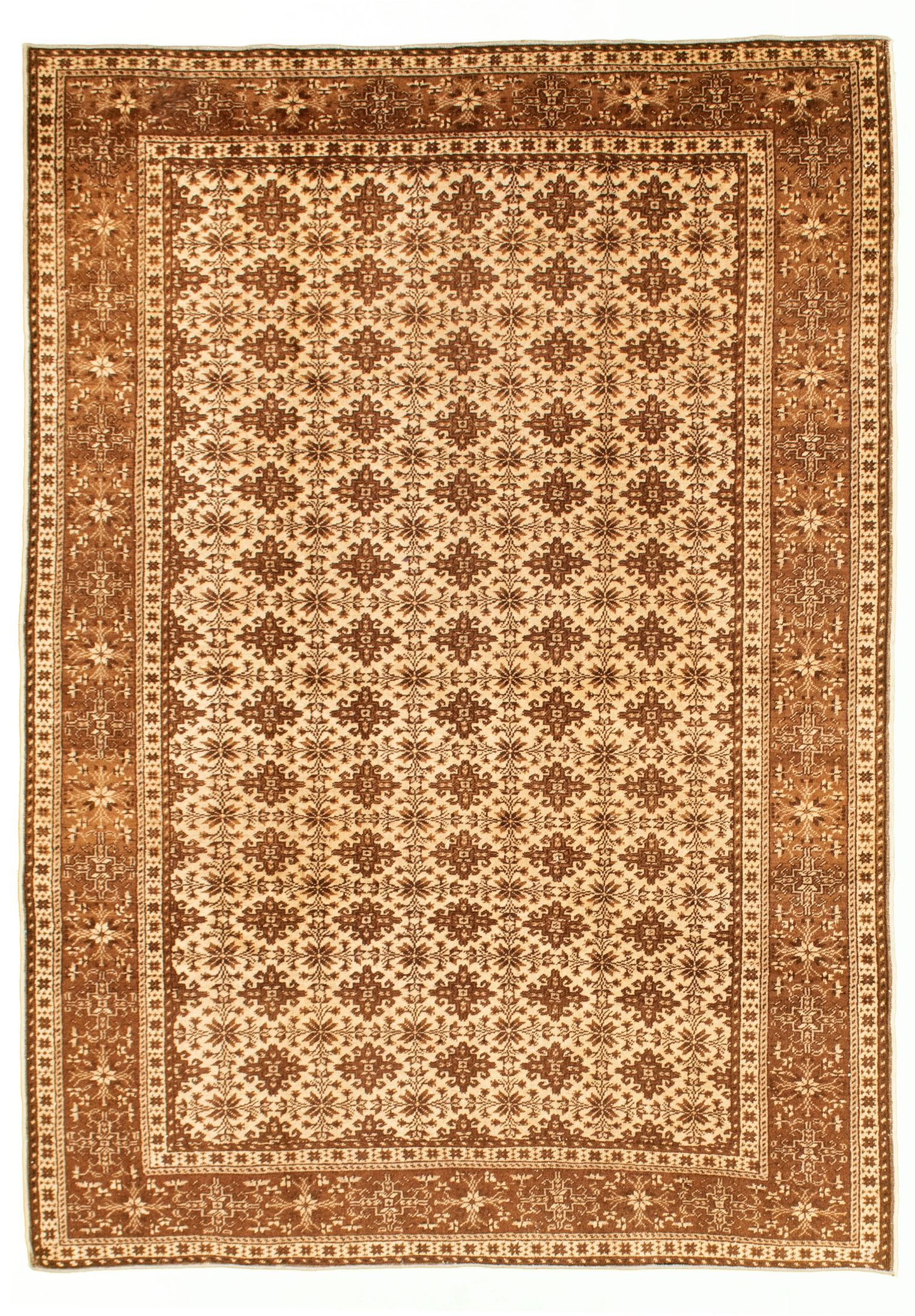 """Hand-knotted Keisari Vintage Cream Wool Rug 4'11"""" x 7'3"""" Size: 4'11"""" x 7'3"""""""