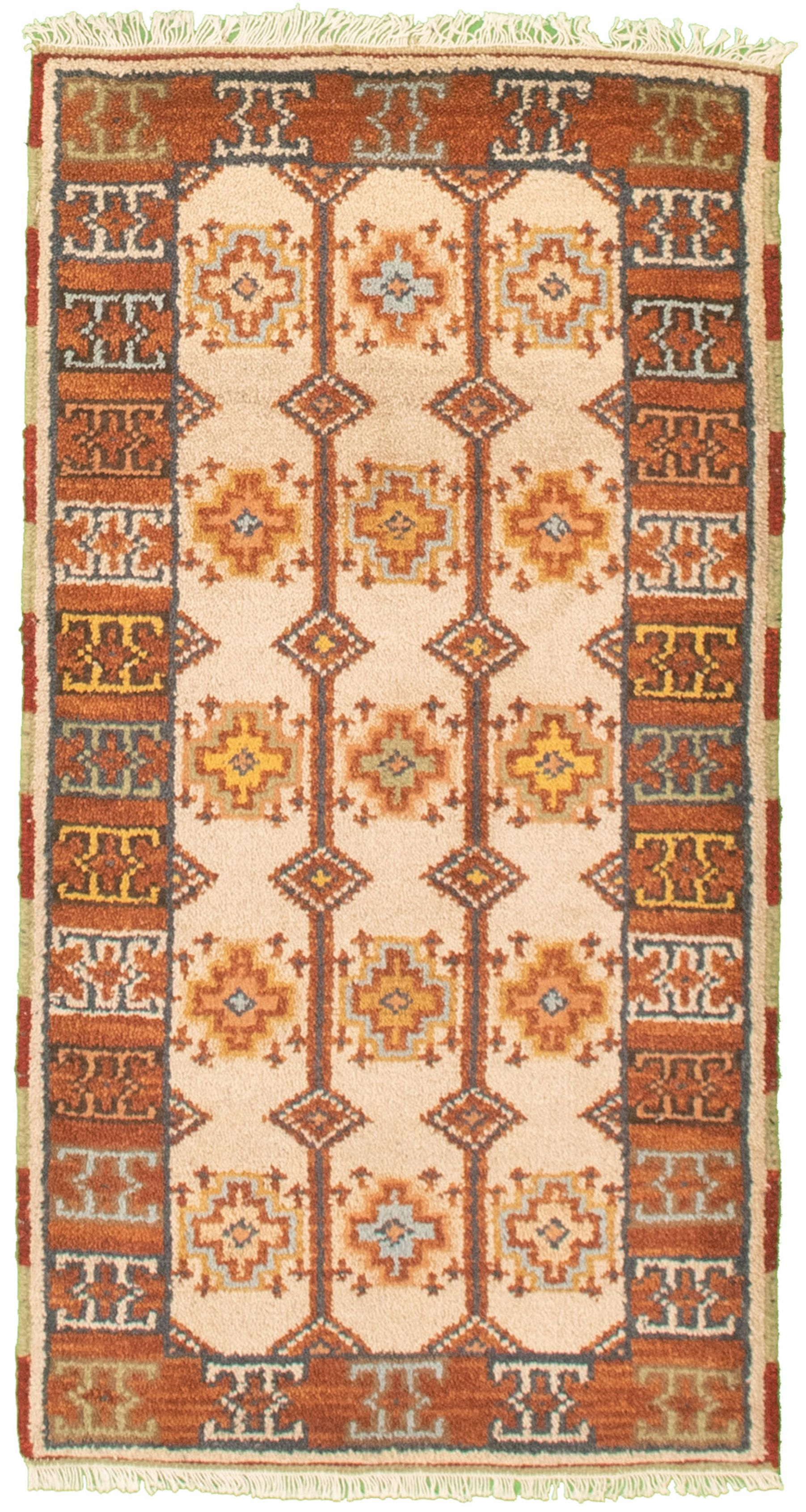 "Hand-knotted Royal Kazak Cream Cotton Rug 2'1"" x 4'0""  Size: 2'1"" x 4'0"""