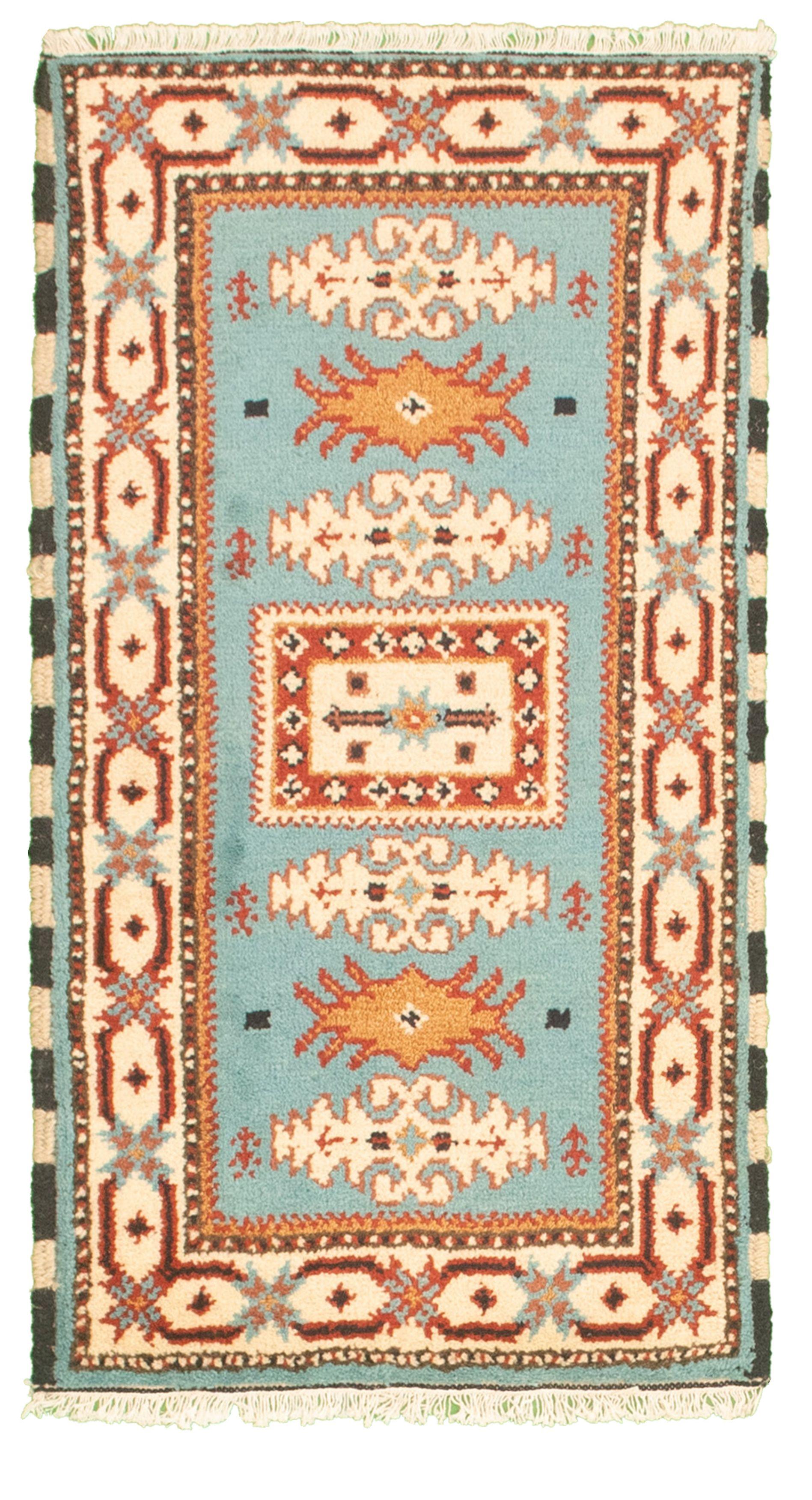 "Hand-knotted Royal Kazak Sky Blue Cotton Rug 2'1"" x 4'0""  Size: 2'1"" x 4'0"""