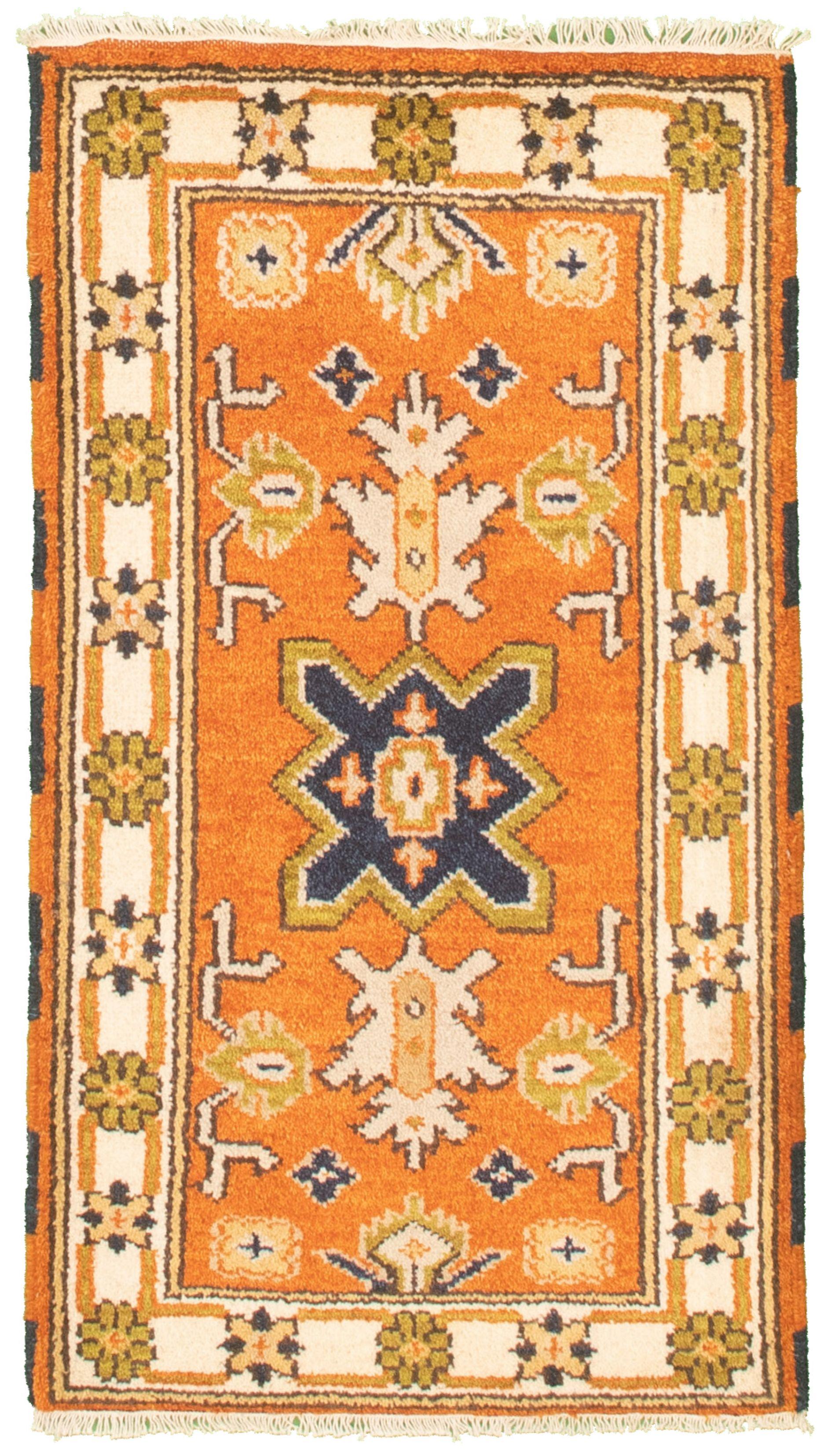 "Hand-knotted Royal Kazak Orange Cotton Rug 2'1"" x 4'0"" (16) Size: 2'1"" x 4'0"""