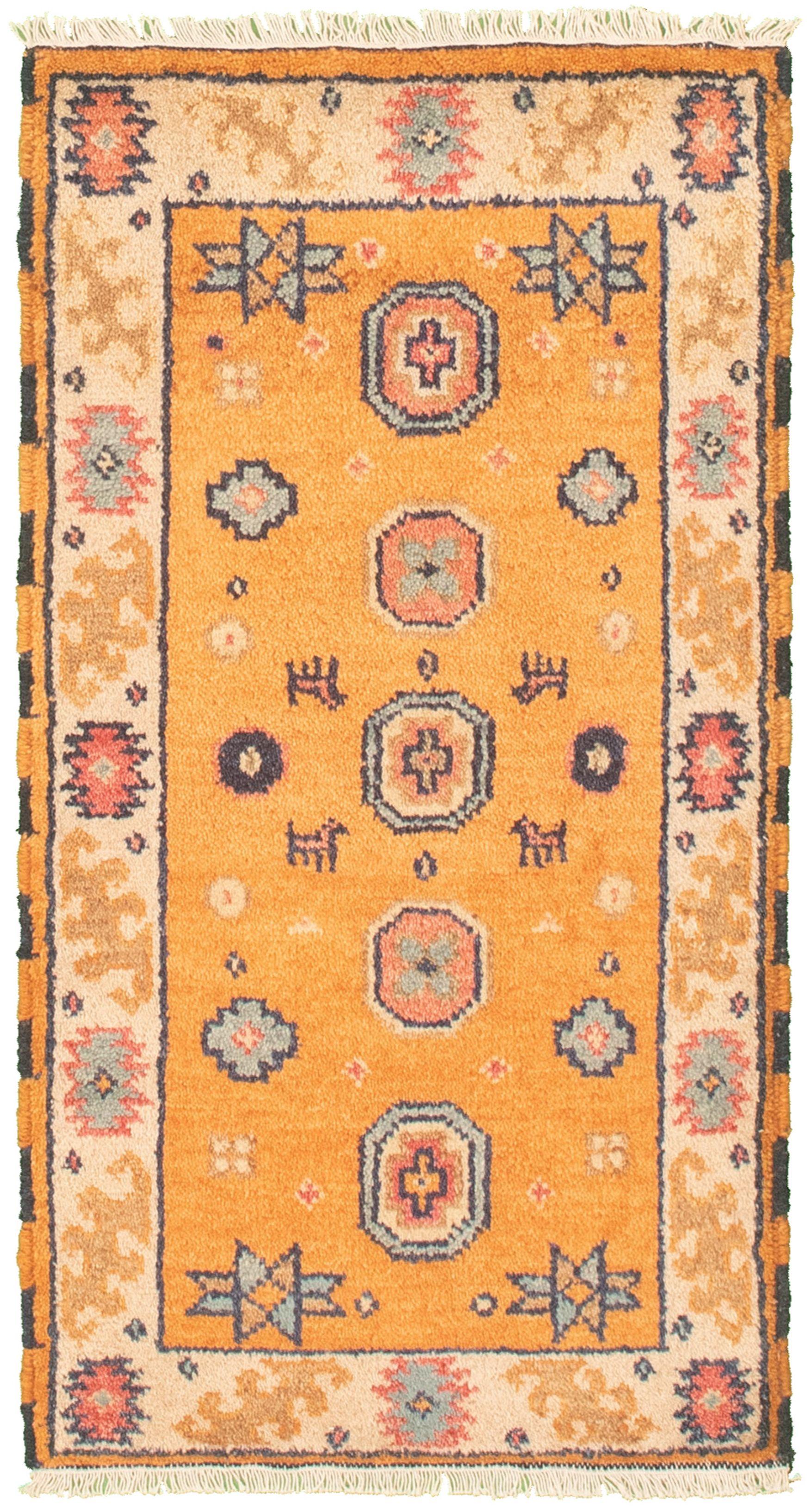 "Hand-knotted Royal Kazak Light Orange Cotton Rug 2'1"" x 4'0""  Size: 2'1"" x 4'0"""