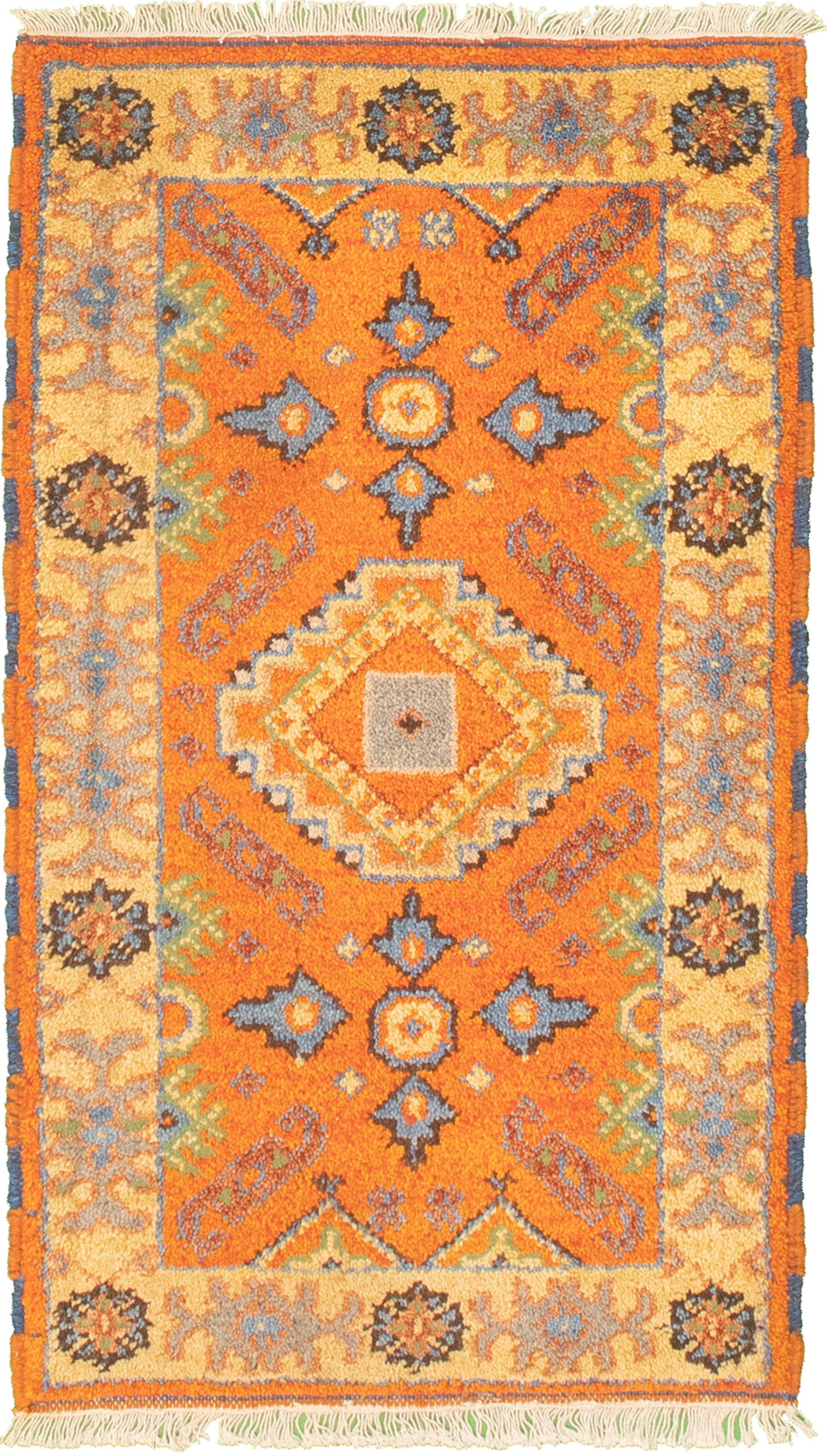 "Hand-knotted Royal Kazak Orange Cotton Rug 2'1"" x 4'0"" (17) Size: 2'1"" x 4'0"""